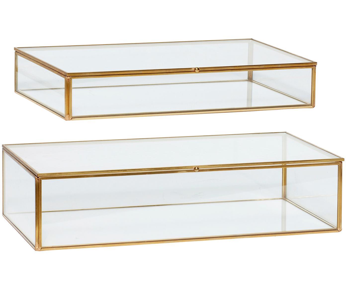 Set 2 scatole Karia, Cornice: ottone, Scatola: vetro, Ottone trasparente, Diverse dimensioni