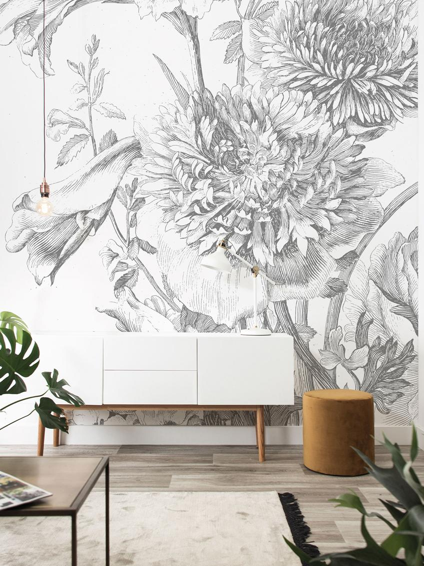 Fototapete Engraved Flowers, Vlies, umweltfreundlich und biologisch abbaubar, Grau, Weiß, 292 x 280 cm