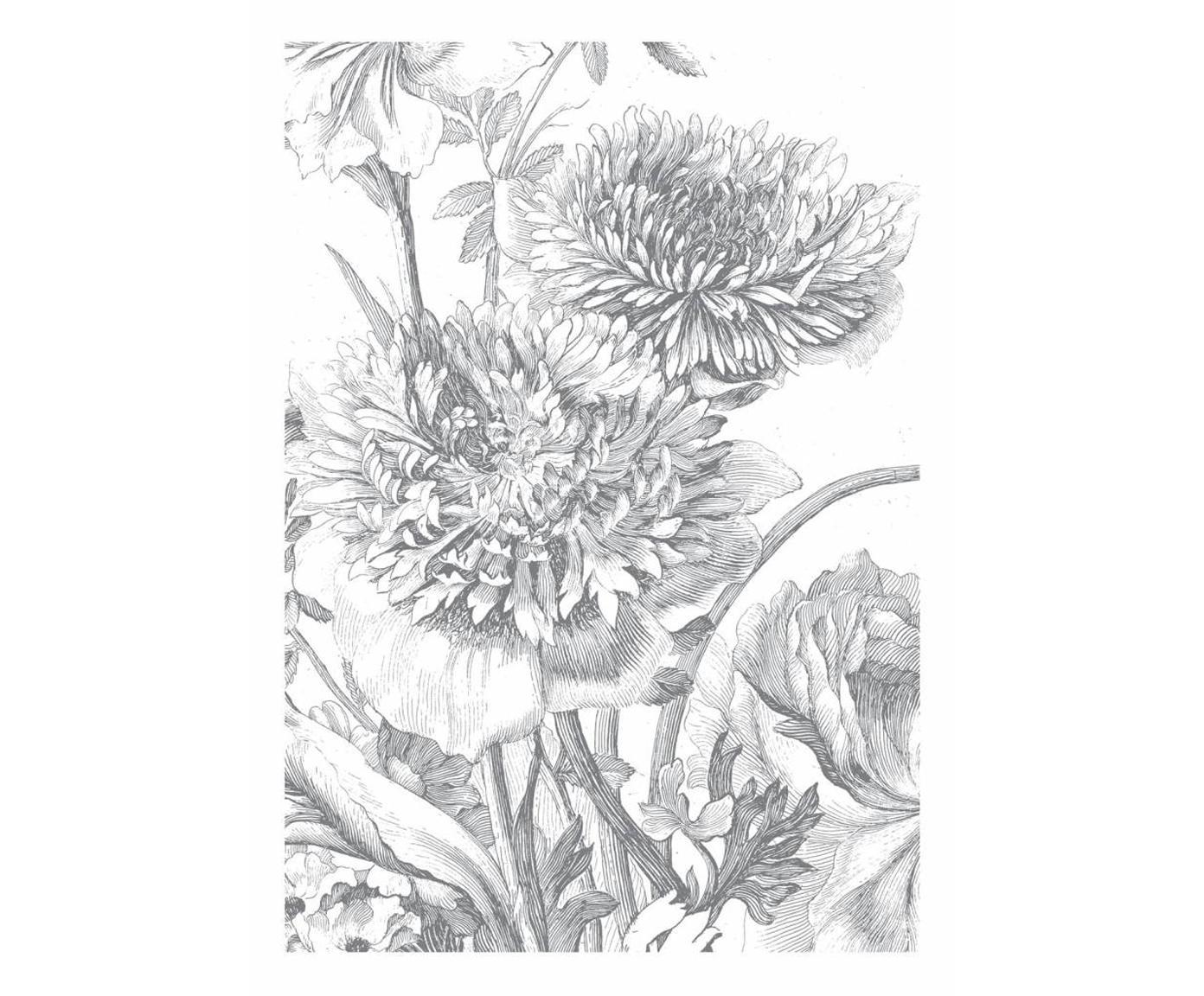Carta da parati Engraved Flowers, Tessuto non tessuto, ecologico e biodegradabile, Grigio, bianco, Larg. 195 x Alt. 280 cm
