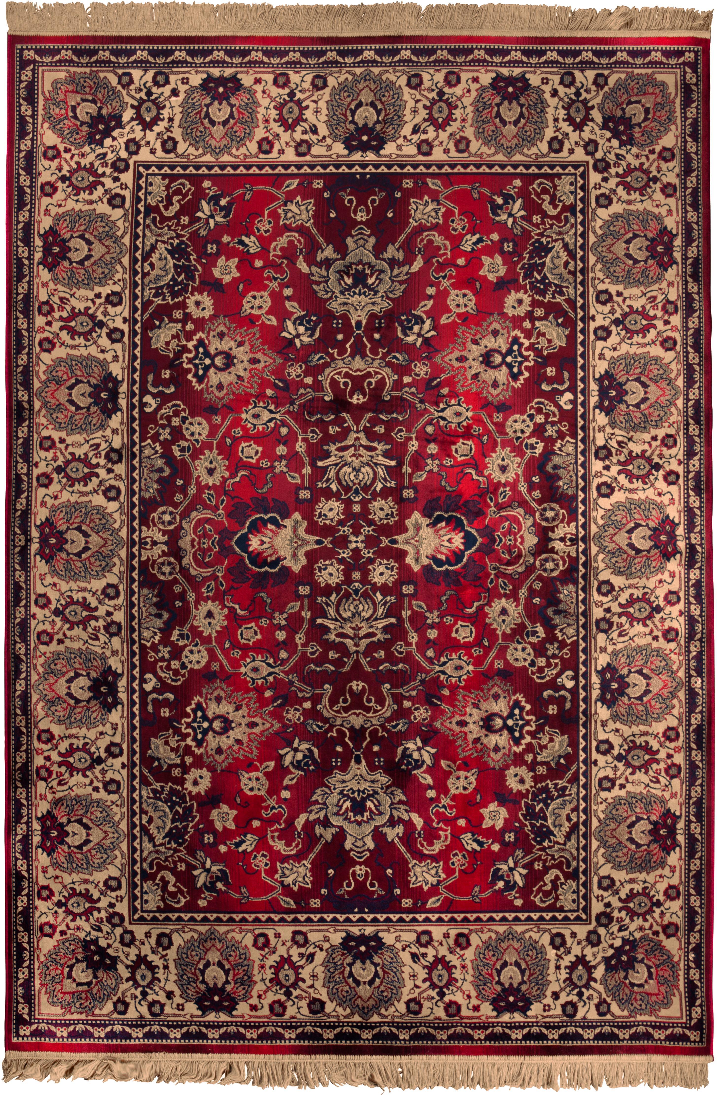 Tappeto a pelo corto con frange Bid, Retro: rivestimento in gomma sin, Tappeto: tonalità beige e rosse Frange: beige, Larg.170 x Lung. 240 cm  (taglia M)