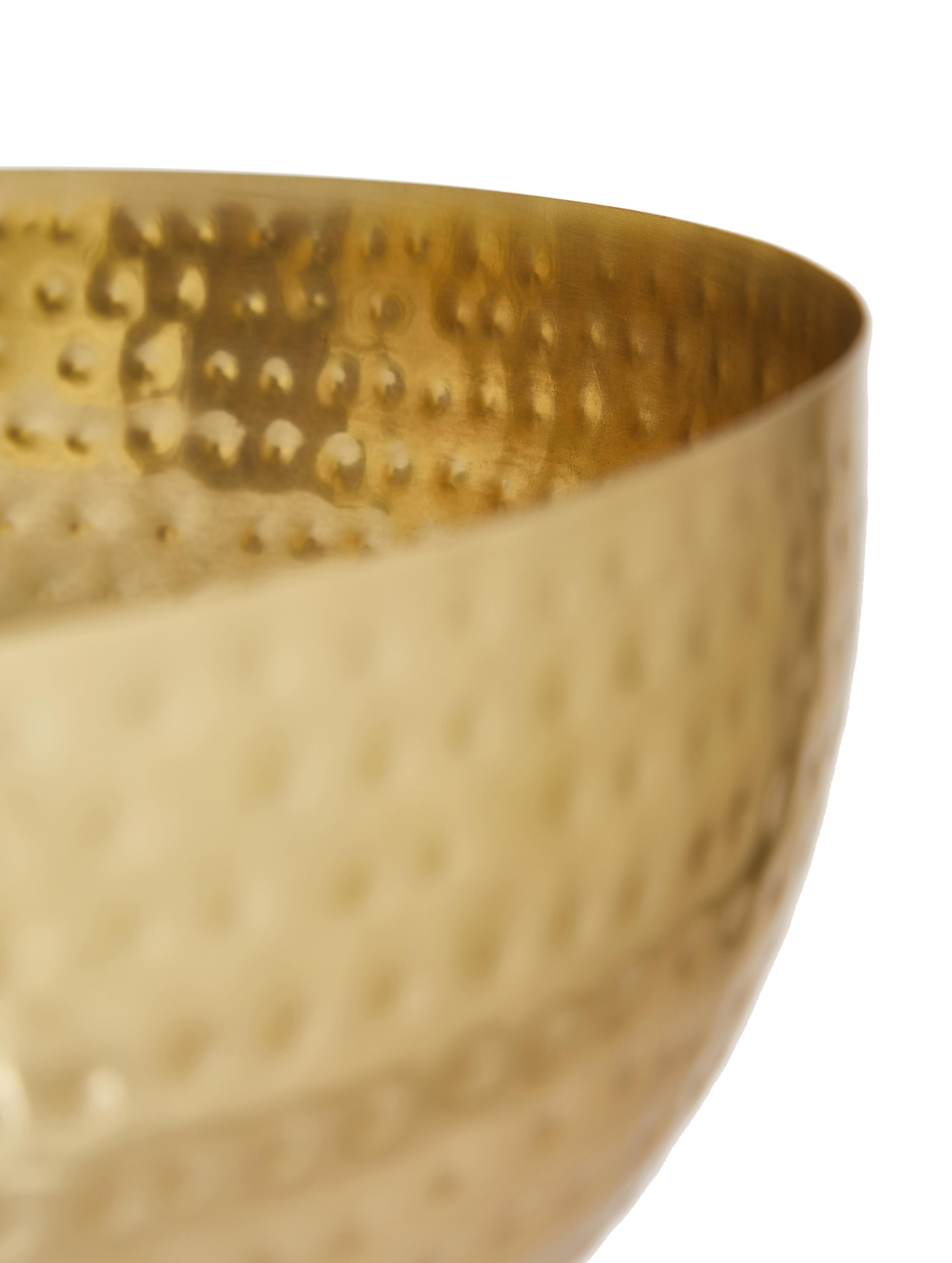 Schale Zana, Eisen, lackiert und gehämmert, Goldfarben, Ø 35 x H 13 cm