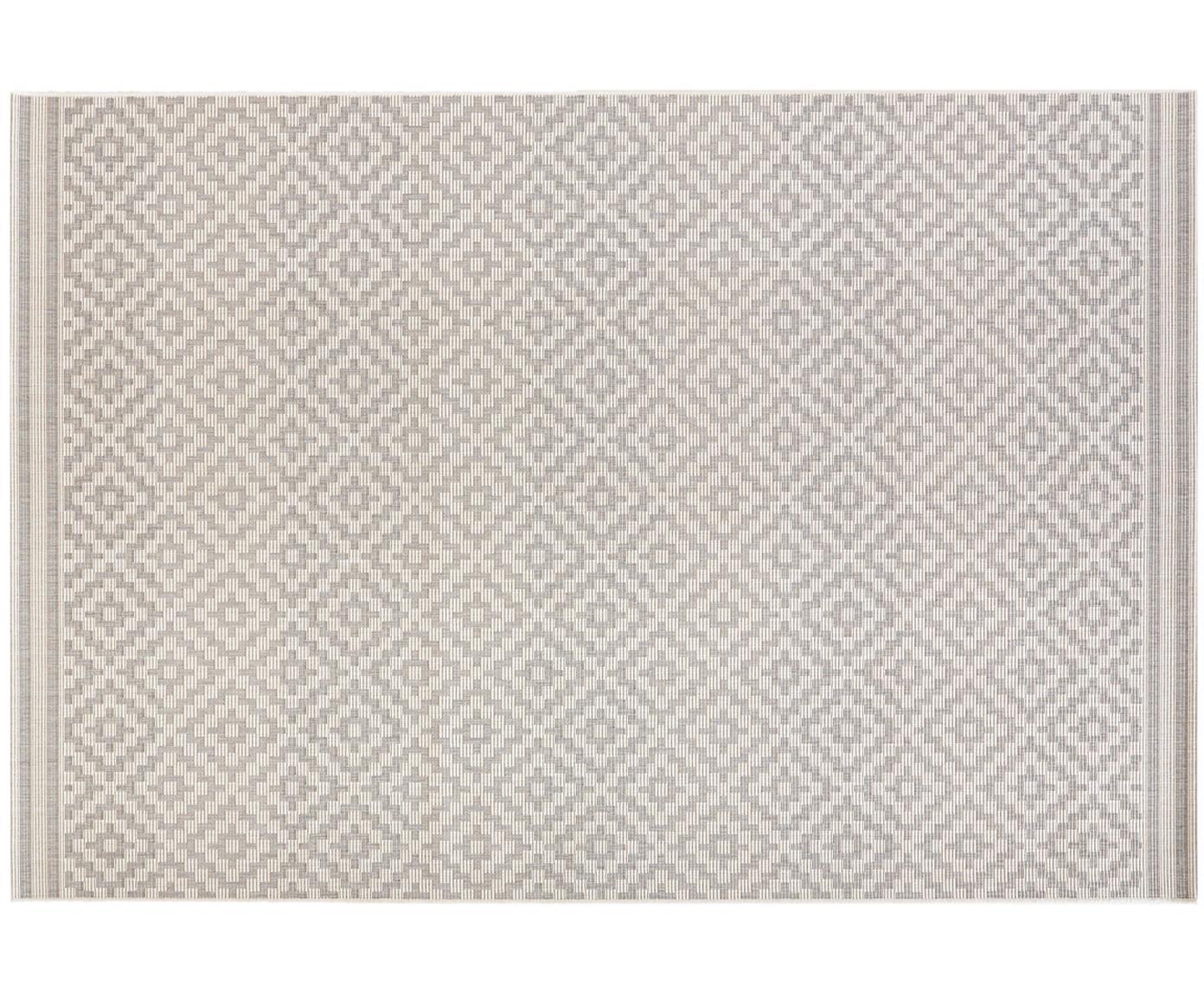 In- & outdoor vloerkleed Meadow Raute, Grijs, beige, B 80 x L 150 cm (maat XS)