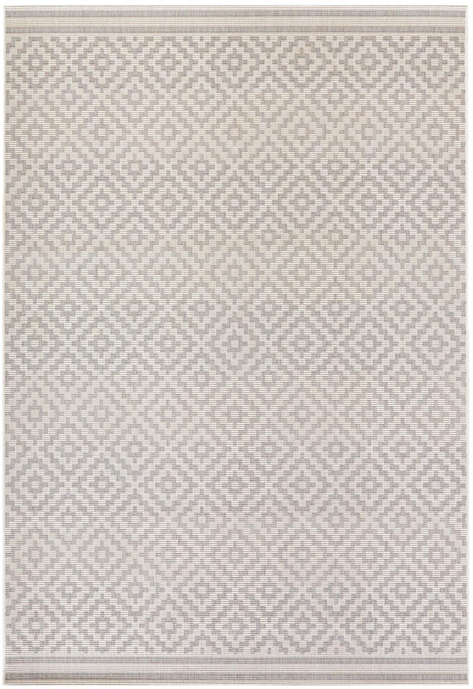In- & outdoor vloerkleed Meadow Raute met grafisch patroon, Grijs, beige, B 80 x L 150 cm (maat XS)