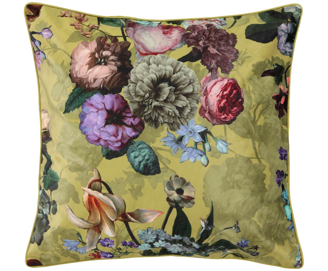 Samt-Kissen Fleur mit Blumenmuster, mit Inlett, Bezug: 100% Polyestersamt, Goldgelb, Mehrfarbig, 50 x 50 cm