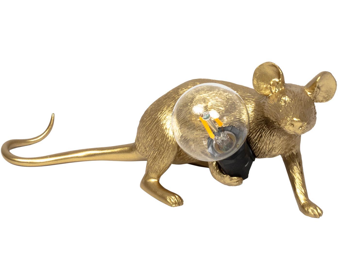 Design Tischleuchte Mouse, Goldfarben, 21 x 8 cm