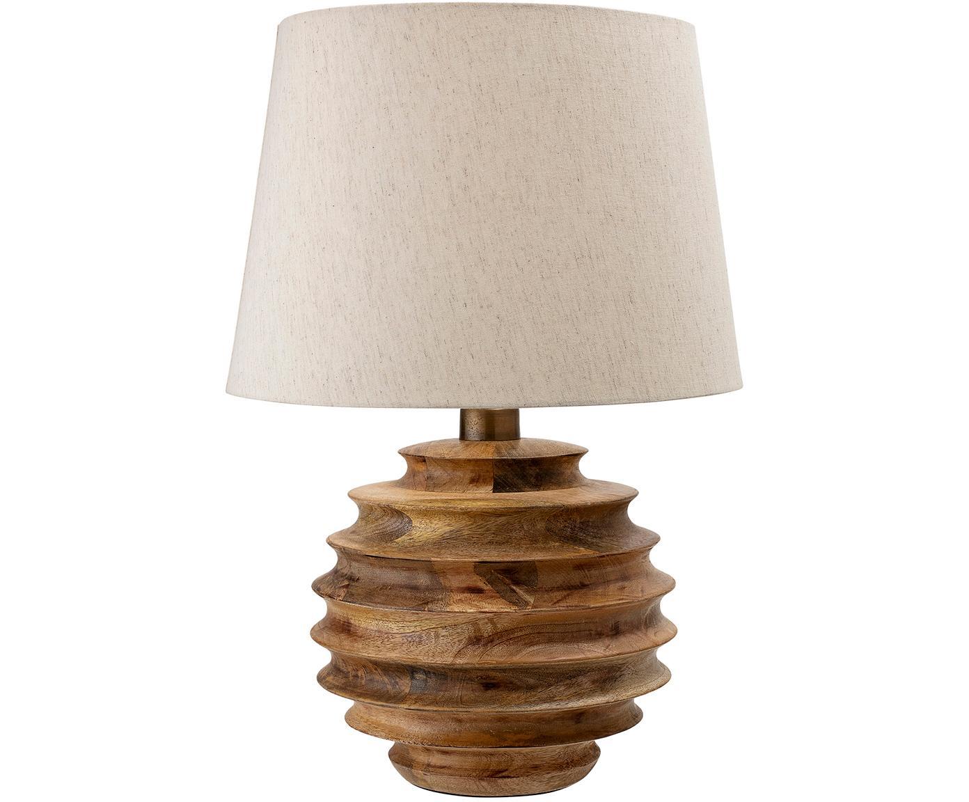 Tafellamp Forsythia, Lampvoet: mangohout, Lampenkap: katoen, Wit, mangohoutkleurig, Ø 38 x H 54 cm