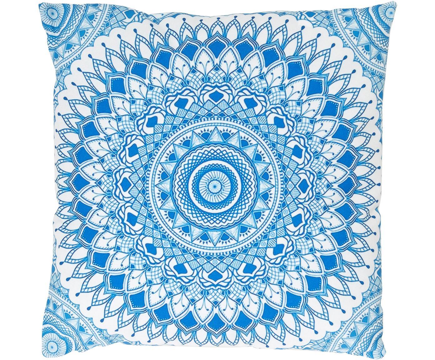 Cuscino imbottito da esterni Casia, Poliestere, Bianco, tonalità blu, Larg. 45 x Lung. 45 cm