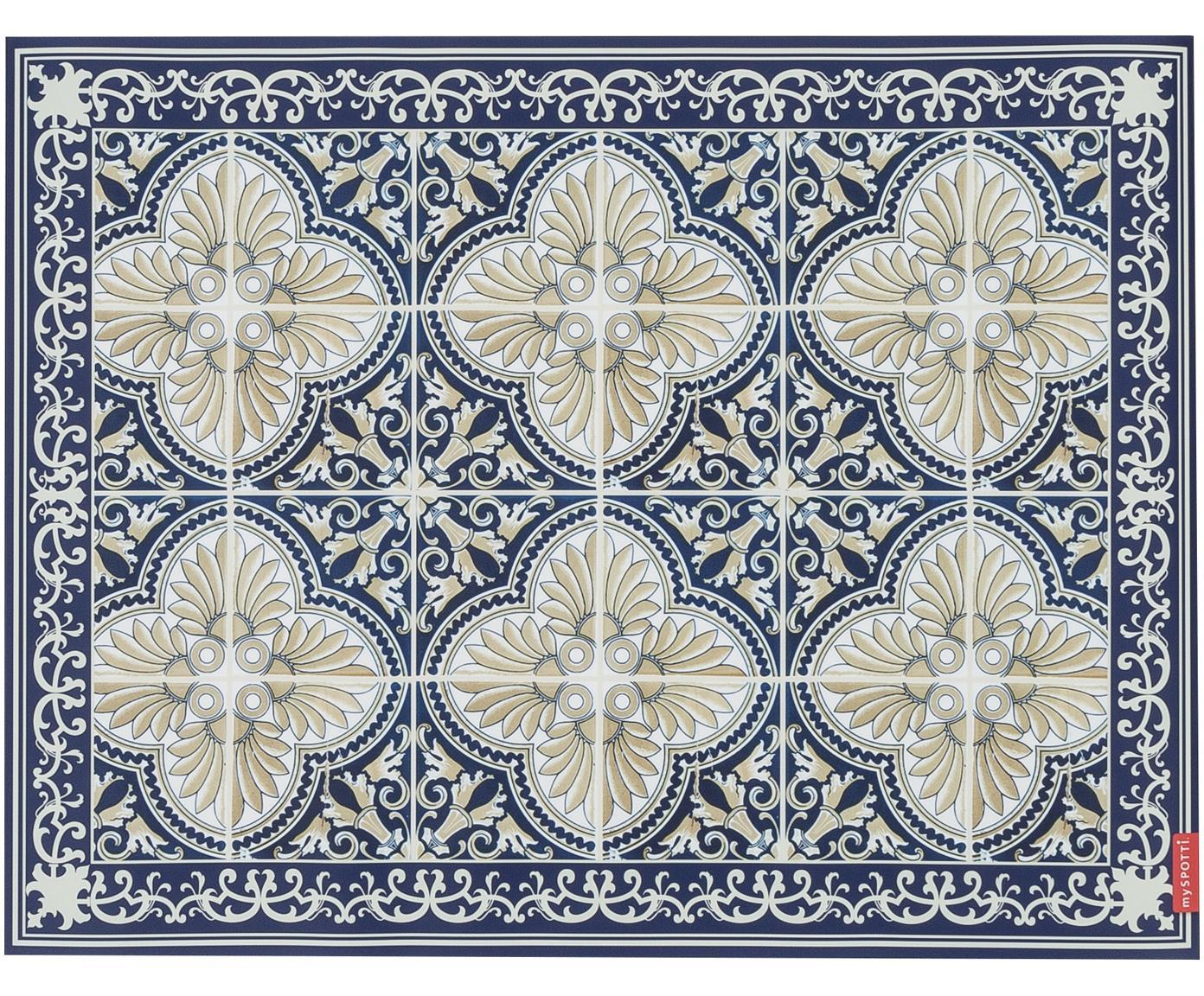 Vinyl vloermat Luis, Vinyl, Blauw, beige, 65 x 85 cm