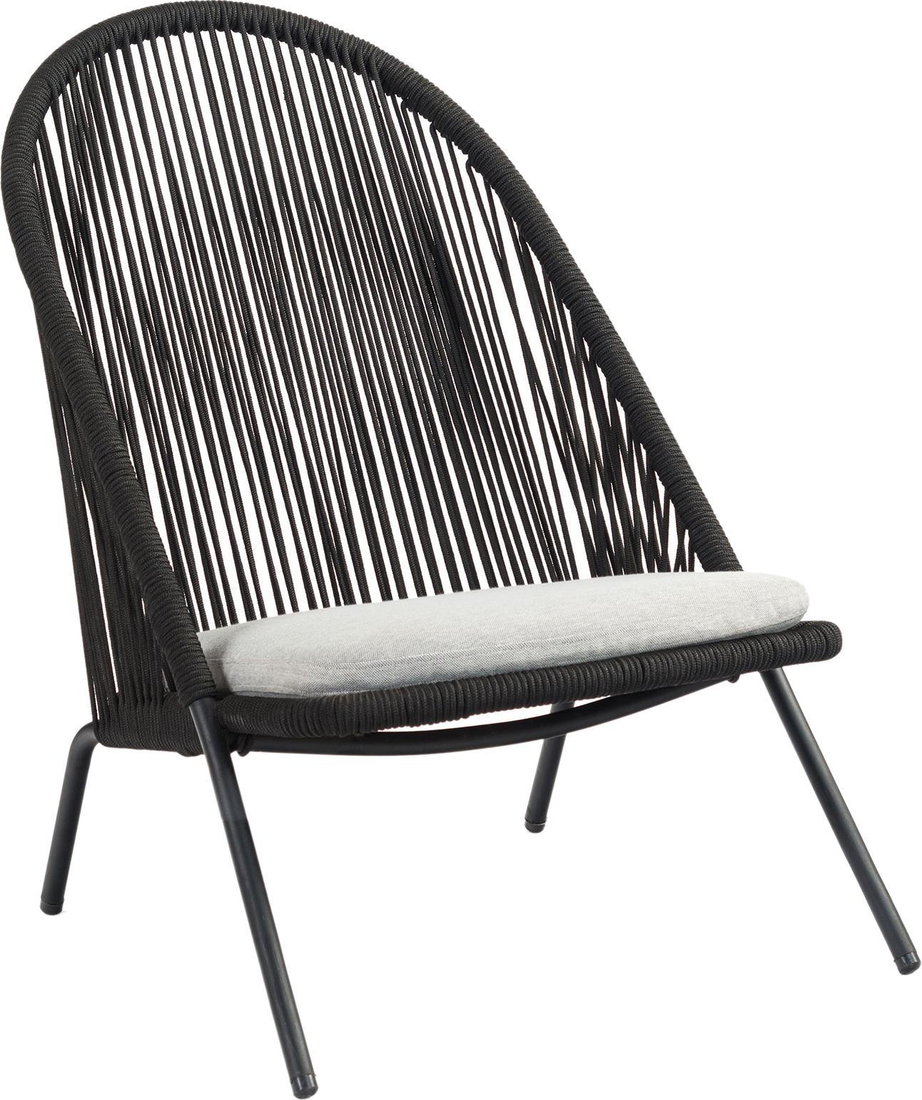 Fotel Shann, Stelaż: metal malowany proszkowo, Czarny, jasny szary, S 63 x G 73 cm