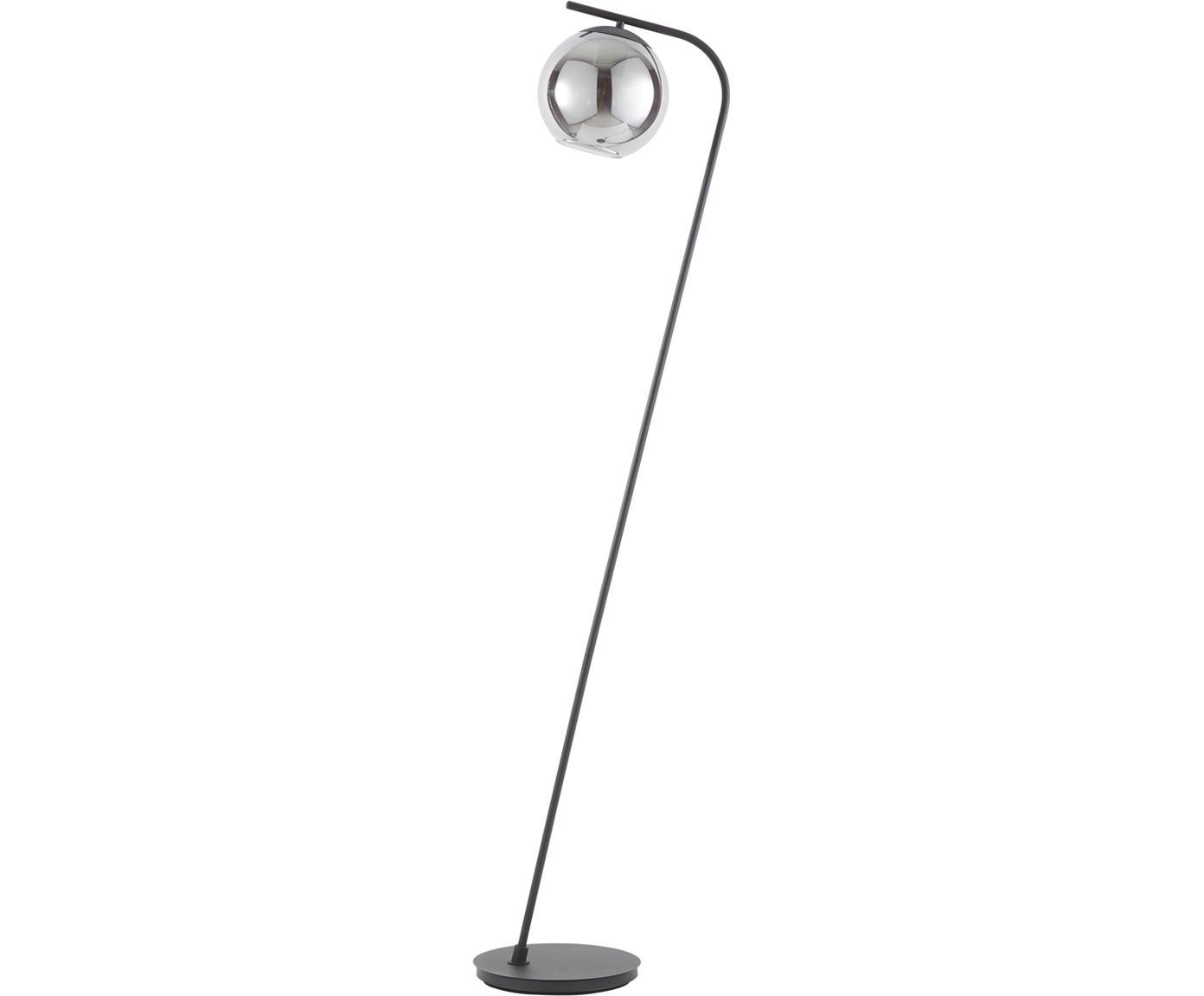 Stehlampe Amos aus dunklem Glas, Lampenschirm: Glas, Lampenfuß: Metall, pulverbeschichtet, Schwarz, transparent, Ø 20 x H 150 cm