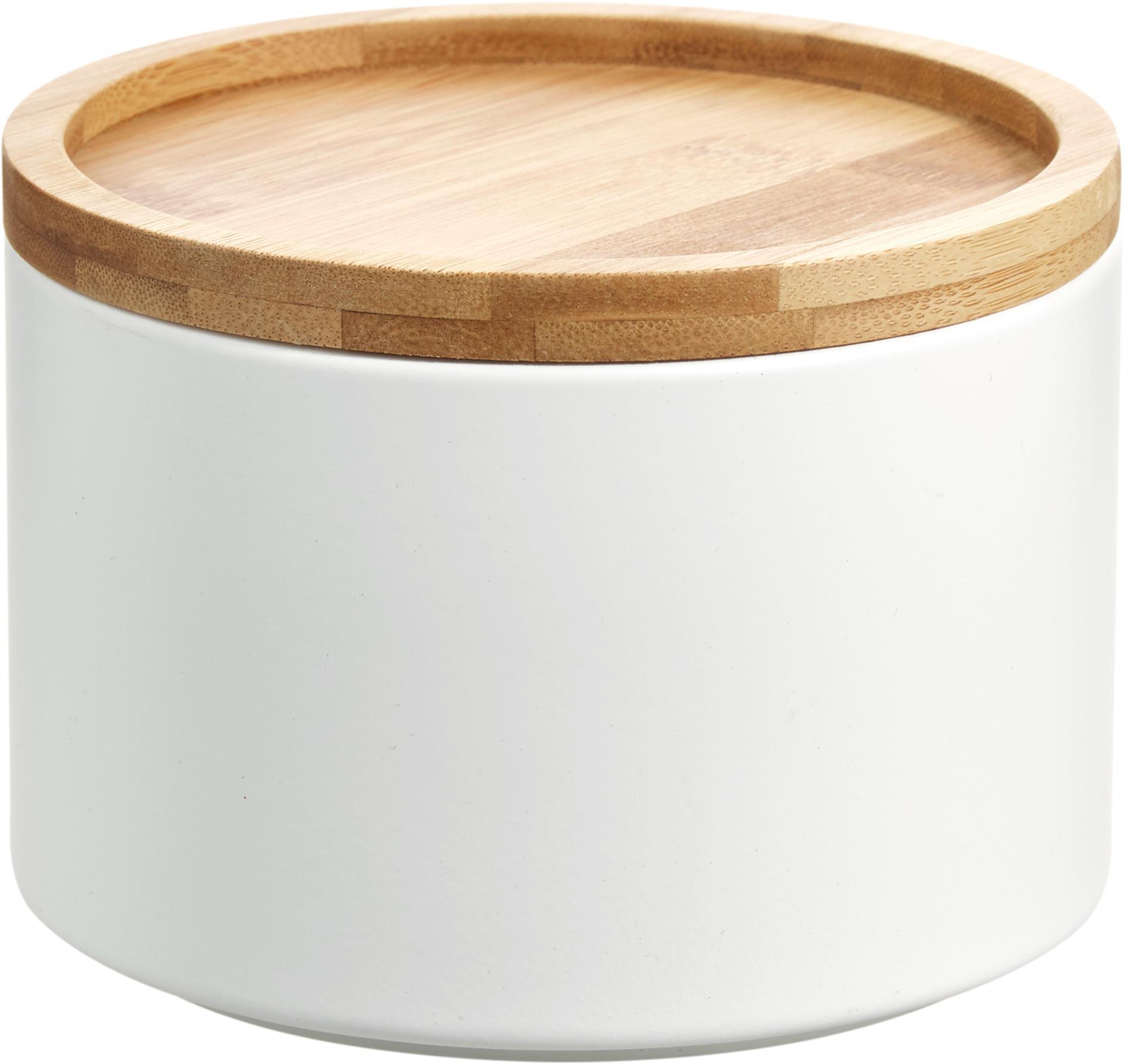 Contenitore impilabile in metallo Bambel, Contenitore: metallo, verniciato, Coperchio: bambù, Bianco, Ø 13 x Alt. 10 cm