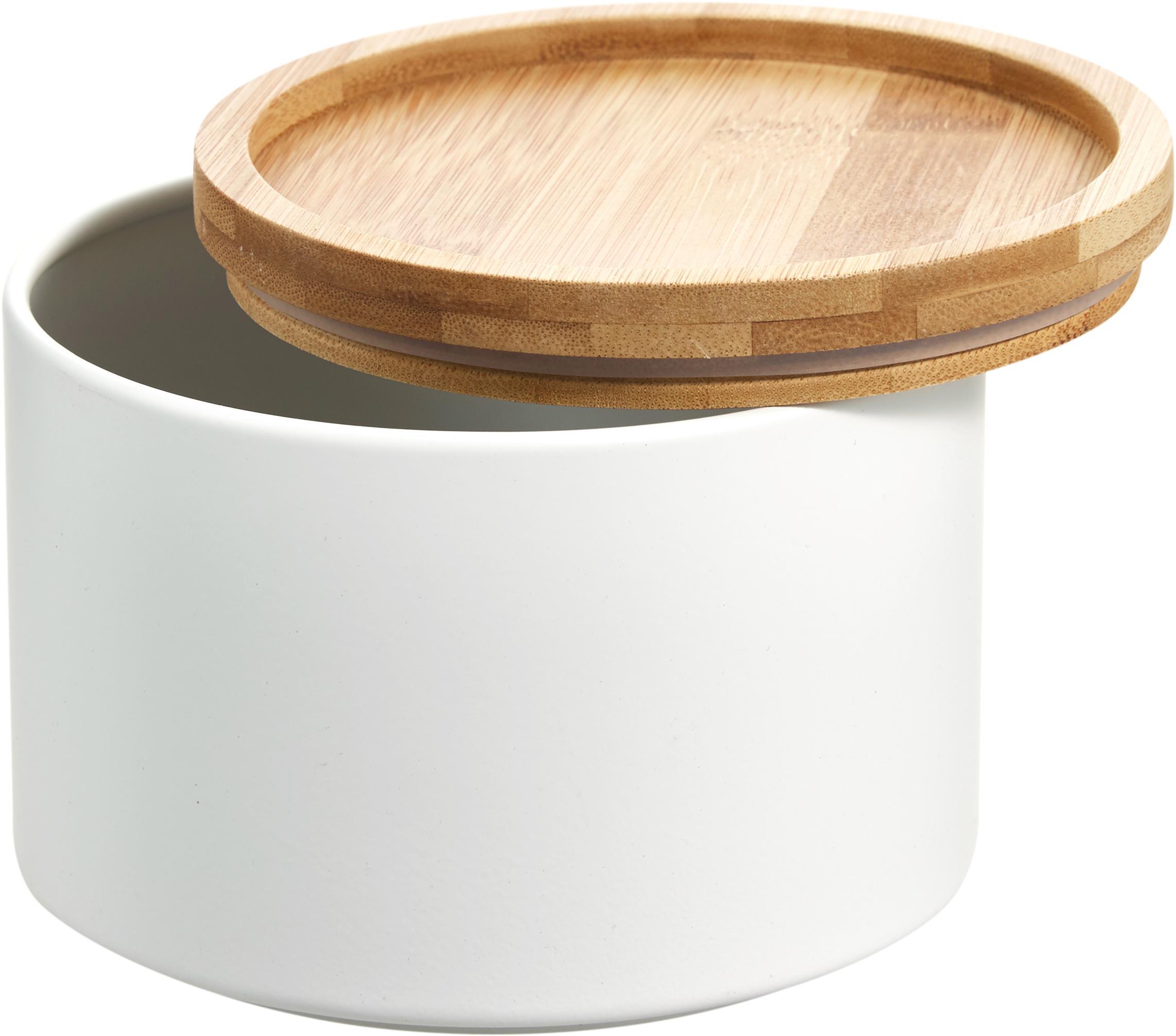 Metalen opbergpot Bambel, stapelbaar, Pot: gelakt metaal, Deksel: bamboe, Wit, Ø 13 x H 10 cm