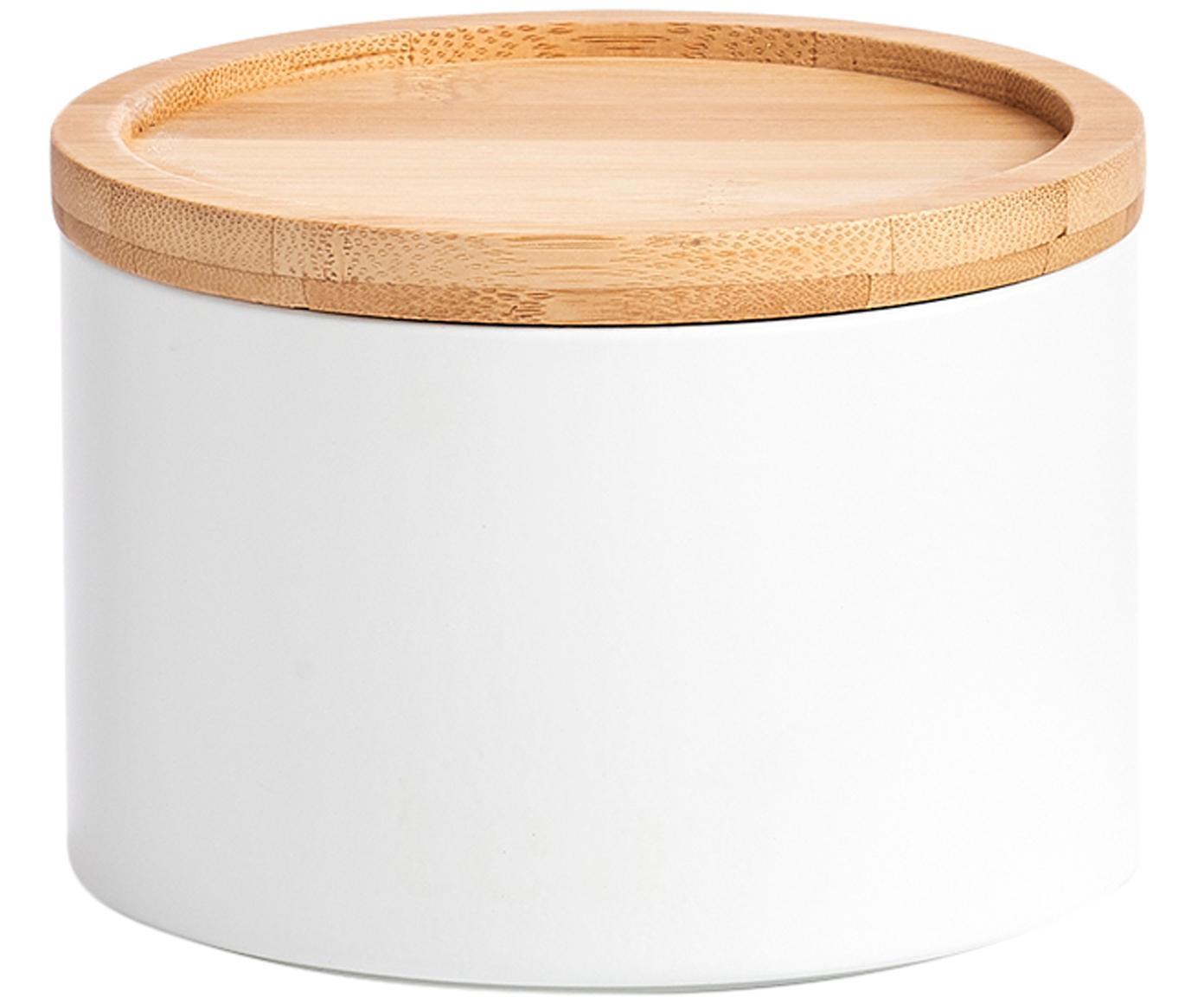 Metall-Aufbewahrungsdose Bambel, stapelbar, Dose: Metall, lackiert, Deckel: Bambus, Weiss, Ø 13 x H 10 cm