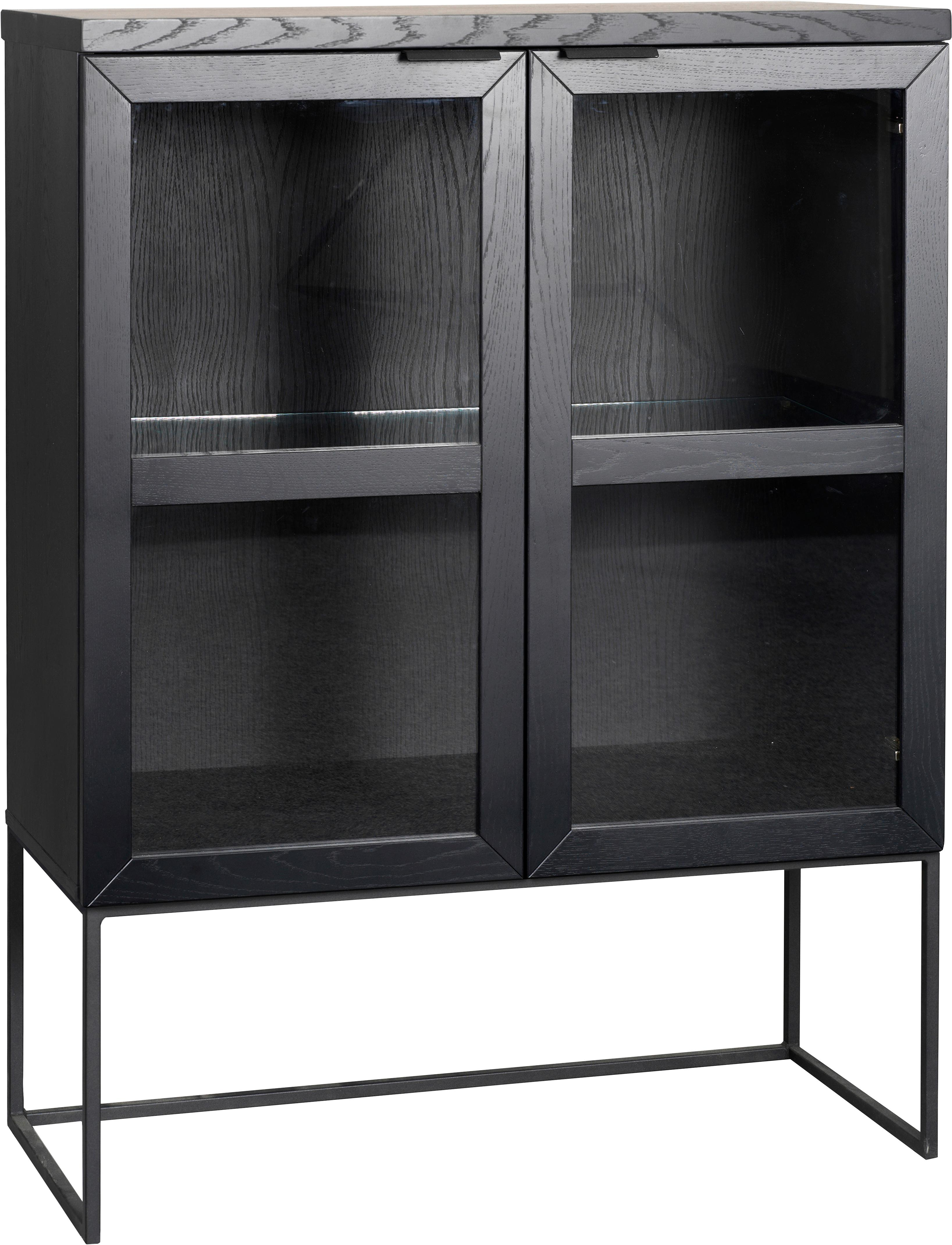Dressoir Everett met glazen deuren in zwart, Frame: eikenhout, massief, gelak, Frame: gelakt metaal, Zwart, 95 x 125 cm