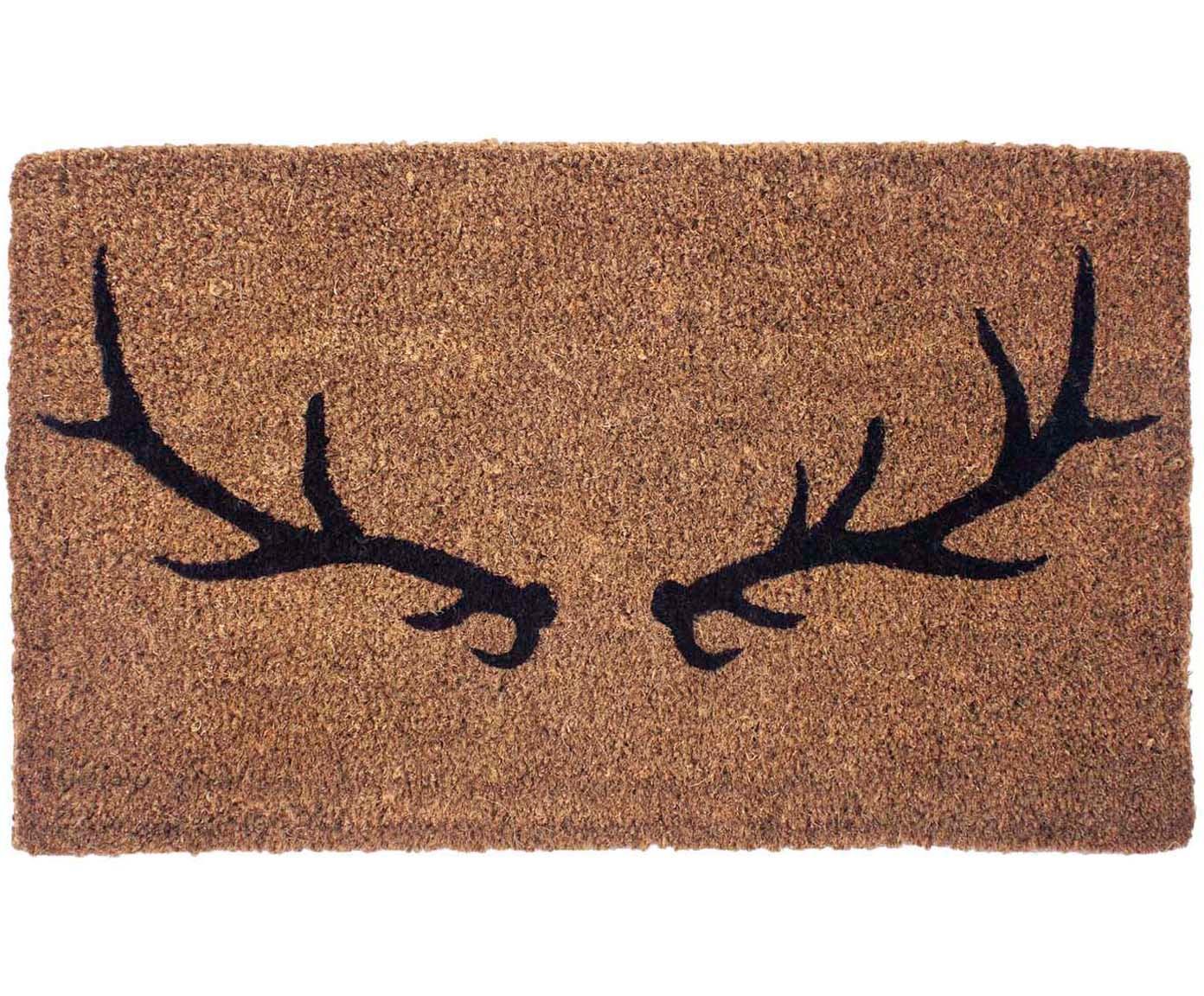 Ręcznie tkana wycieraczka Antlers, Włókno kokosowe, Beżowy, czarny, S 45 x D 75 cm