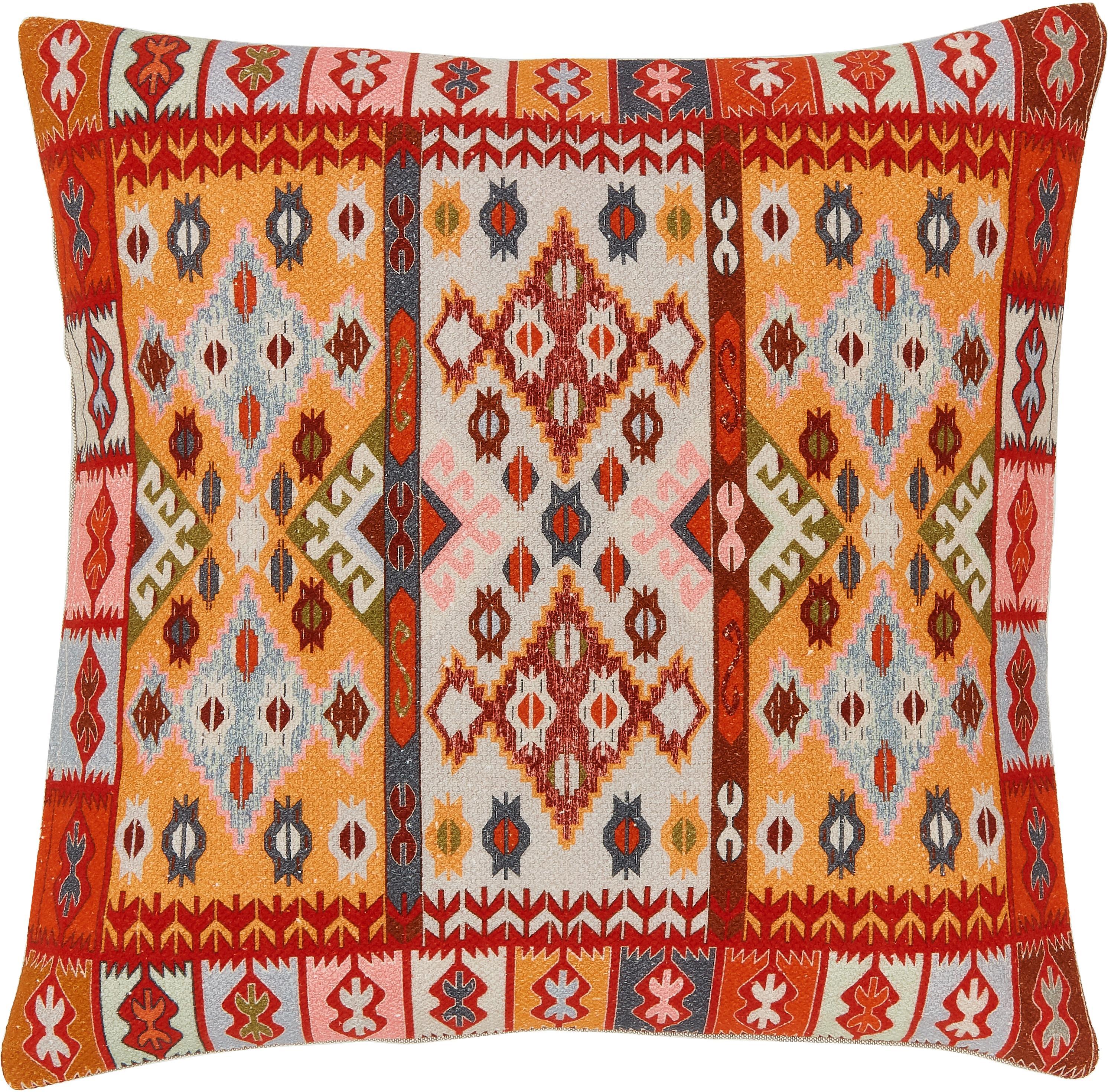 Funda de cojín Budak, estilo étnico, 100%algodón, Multicolor, An 45 x L 45 cm