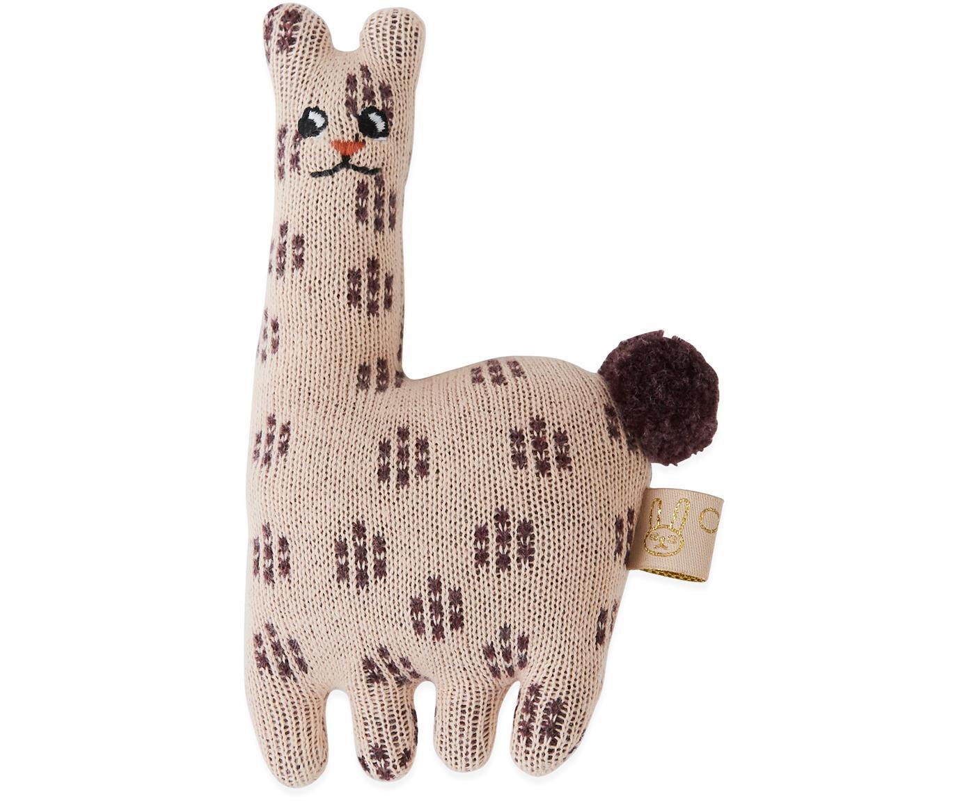 Sonajero Lama, Algodón, Rosa, marrón, An 10 x Al 16 cm