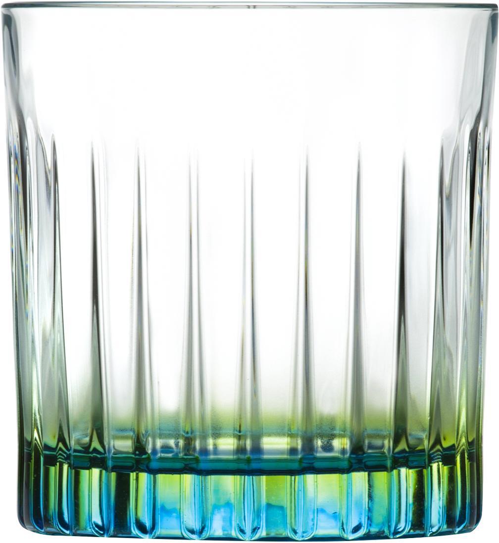 Gläser Gipsy mit zweifarbigem Luxion-Kristallglas, 6er-Set, Luxion-Kristallglas, Transparent, Grüngelb, Türkis, Ø 8 x H 9 cm