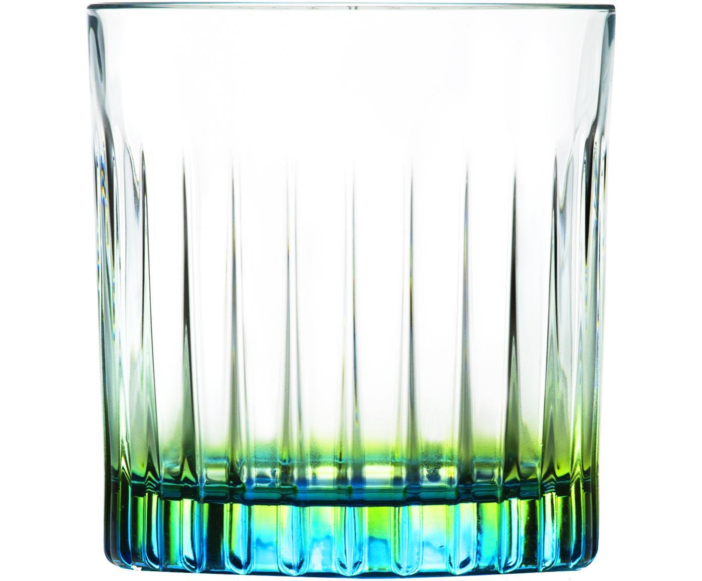 Kristallen tumblers Gipsy, 6 stuks, Luxion-kristalglas, Transparant, groengeel, turquoise, Ø 8 cm x H 9 cm