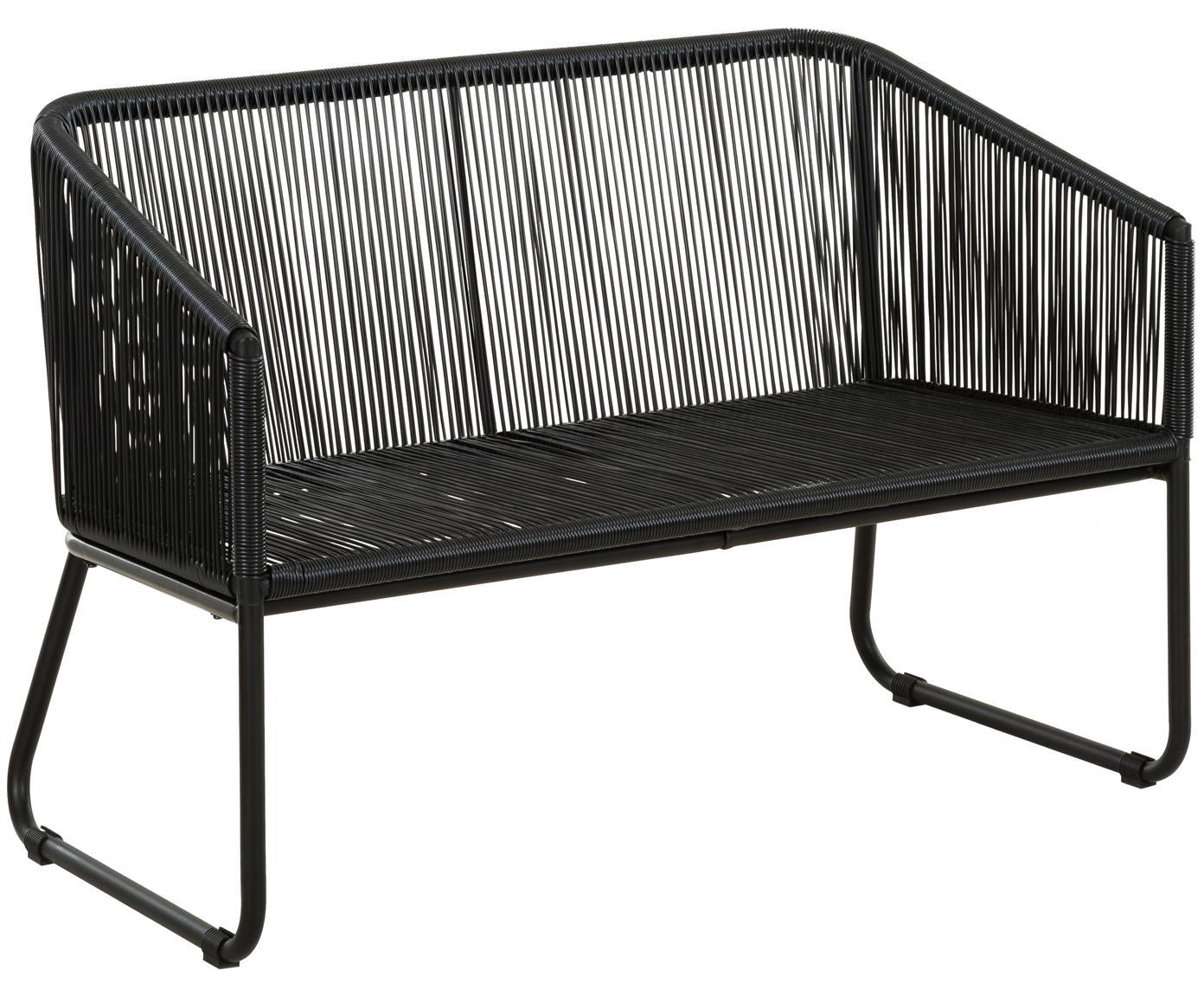 Banco Moa, Asiento: polietileno, Estructura: metal con pintura en polv, Negro, An 118 x F 64 cm