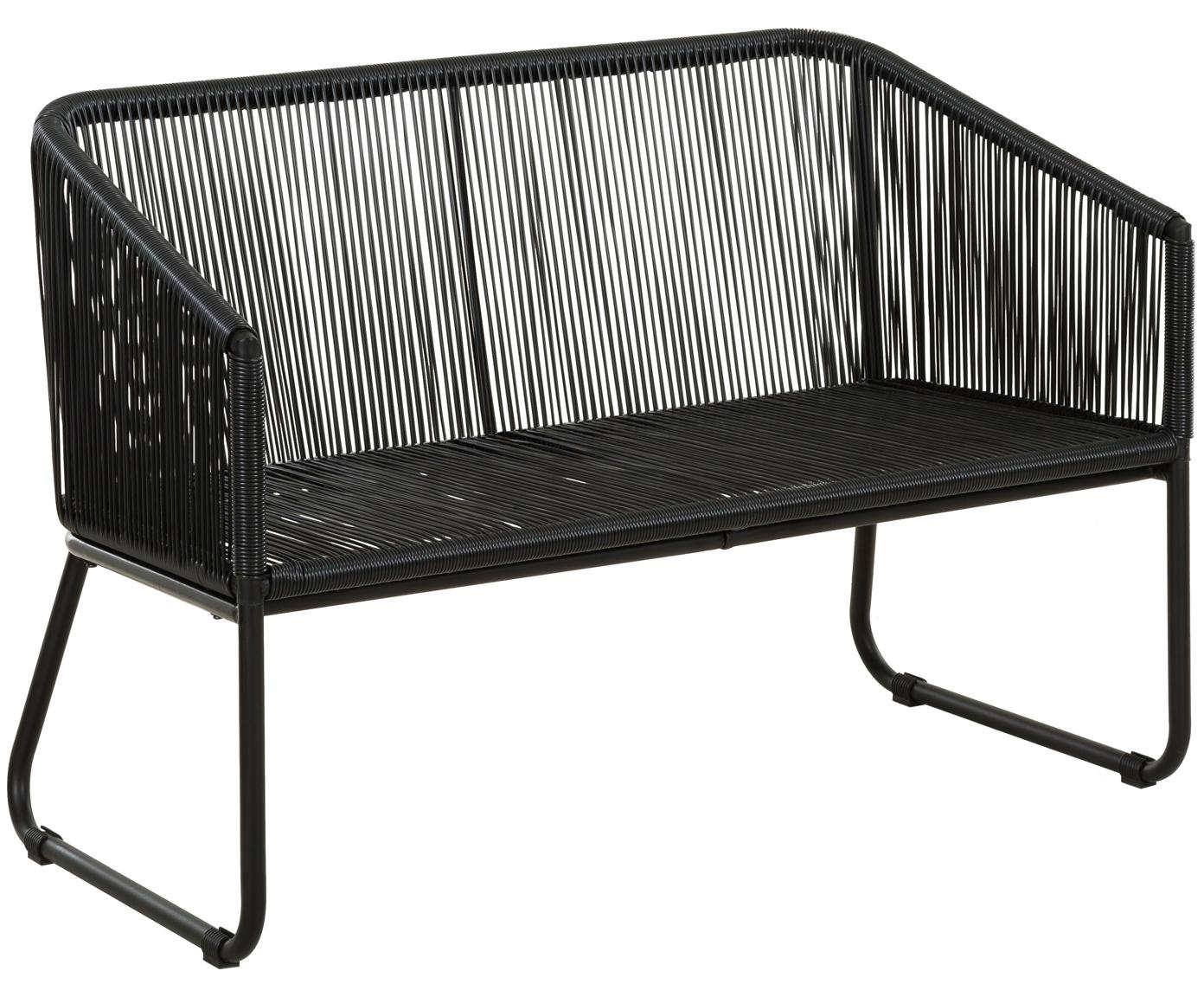 Ławka ogrodowa ze splotem z tworzywa sztucznego Moa, Stelaż: metal malowany proszkowo, Czarny, S 118 x G 64 cm