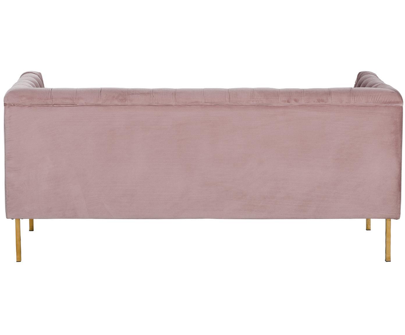 Sofa Chesterfield z aksamitu Chiara (2-osobowa), Tapicerka: aksamit (poliester) 20 00, Stelaż: lite drewno brzozowe, Nogi: metal galwanizowany, Blady różowy, S 170 x G 72 cm