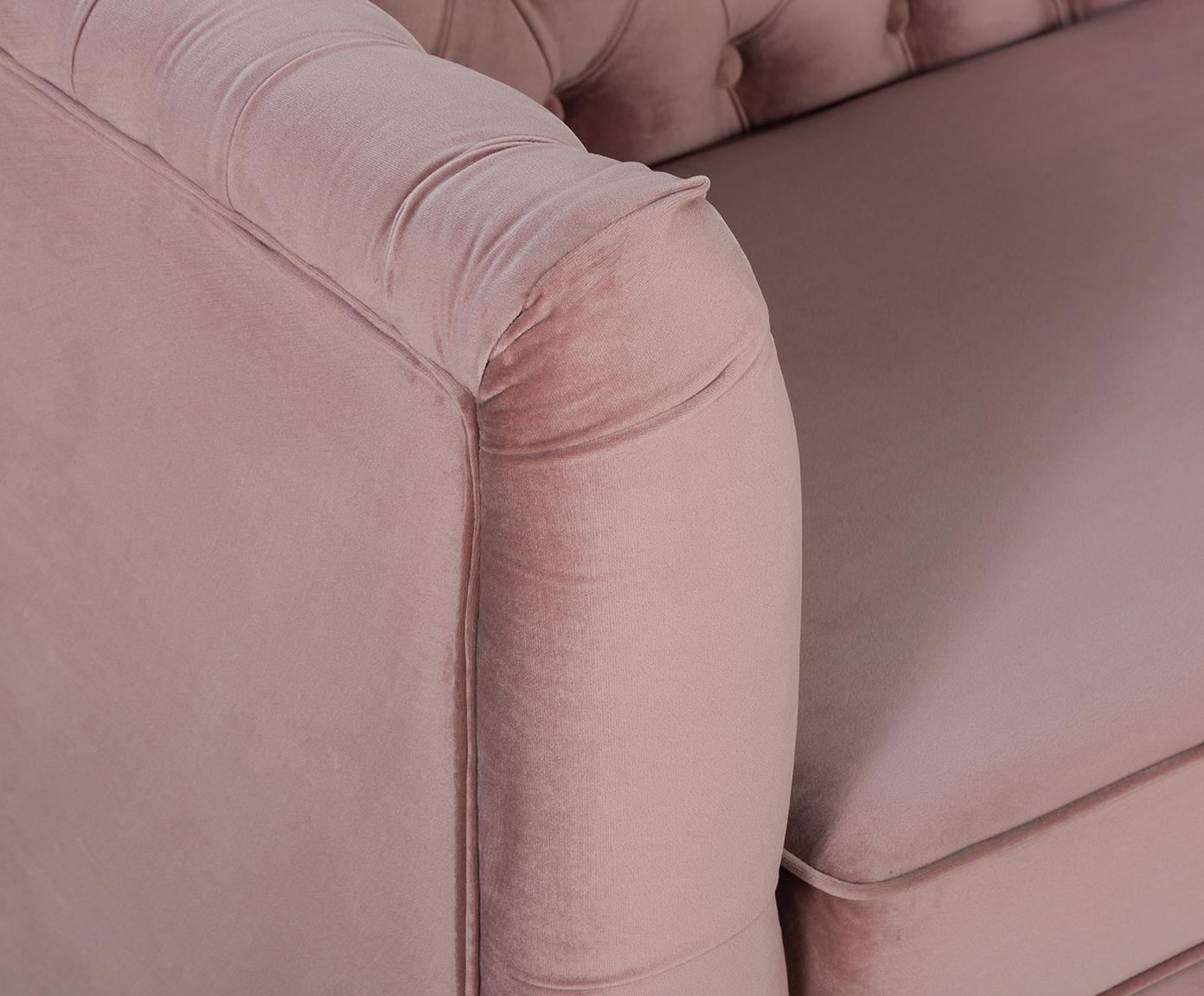 Divano Chesterfield 2 posti in velluto rosa Chiara, Rivestimento: velluto (poliestere) 20.0, Struttura: legno di betulla massicci, Piedini: metallo, zincato, Velluto rosa, Larg. 170 x Prof. 72 cm