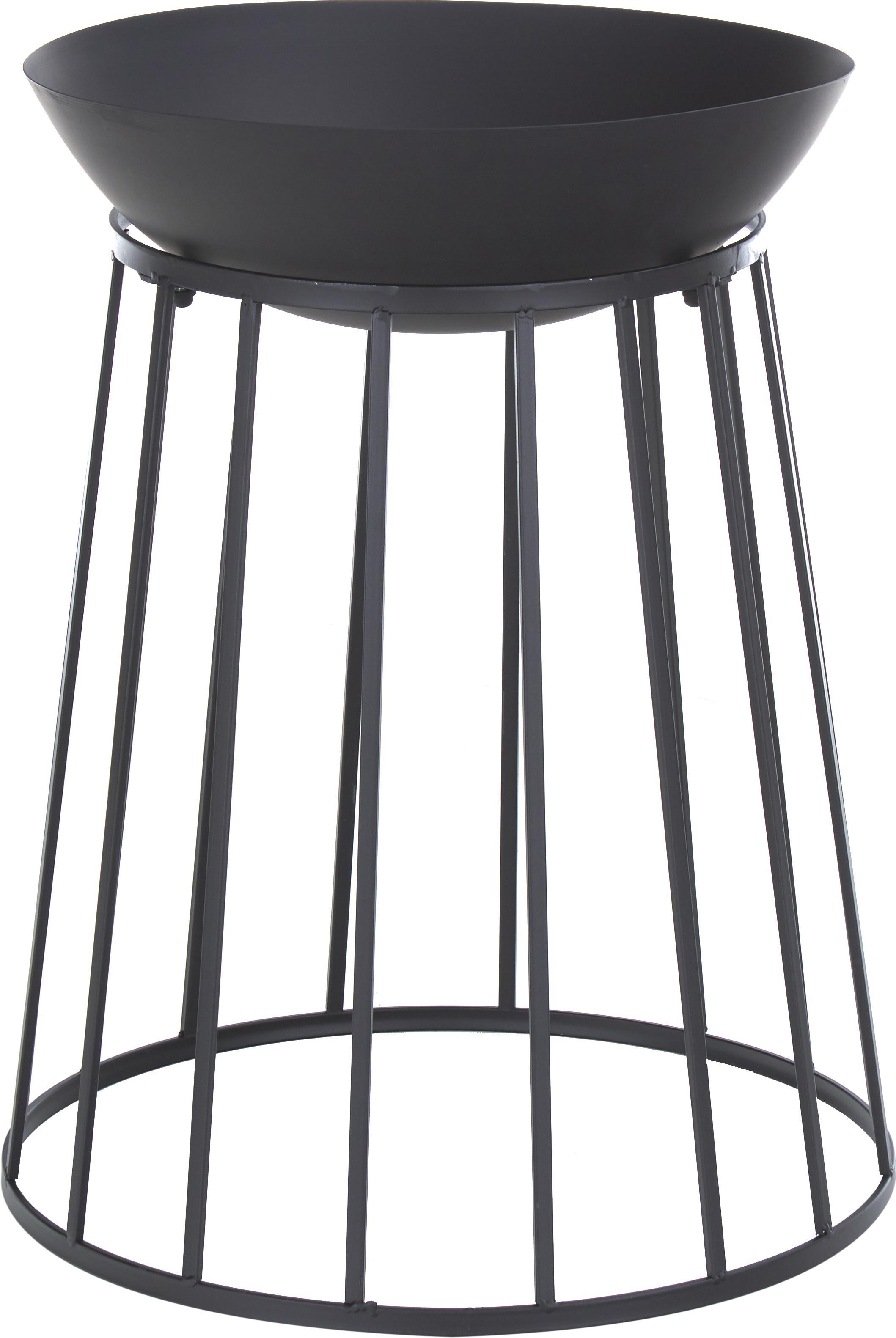 Vuurschaal Efesto, Gepoedercoat staal, bestand tegen hoge temperaturen, Zwart, Ø 50 x H 63 cm
