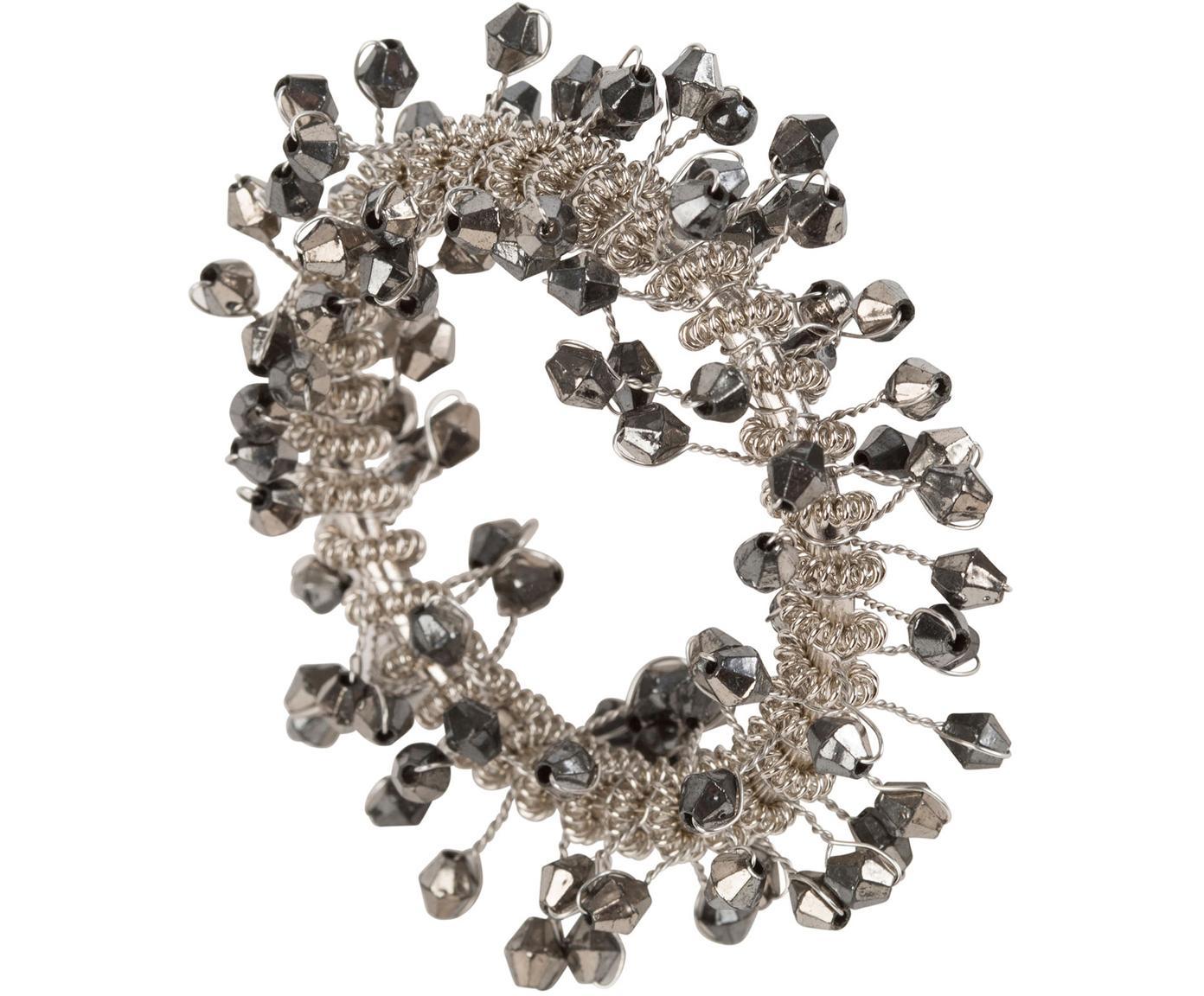Servetringen Perlia, 2 stuks, Kunststof, glas, metaal, Grijs, metaalkleurig, Ø 4 cm