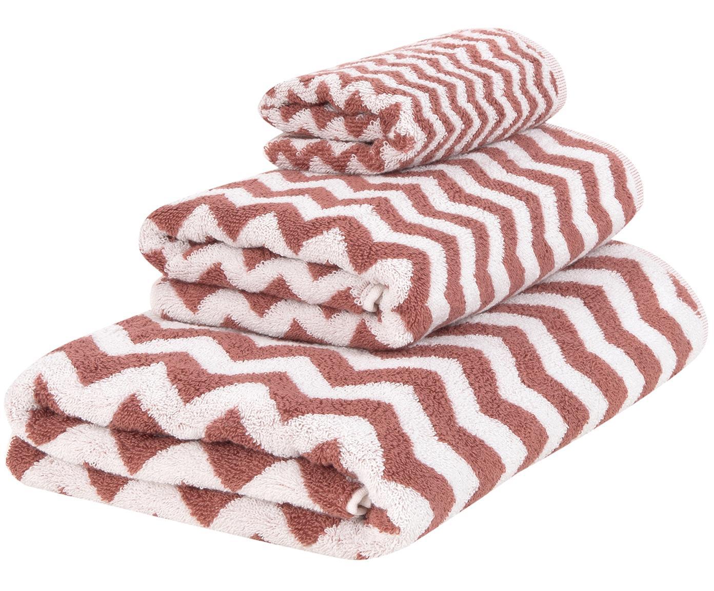 Set 3 asciugamani con motivo a zigzag Liv, Terracotta, bianco crema, Diverse dimensioni