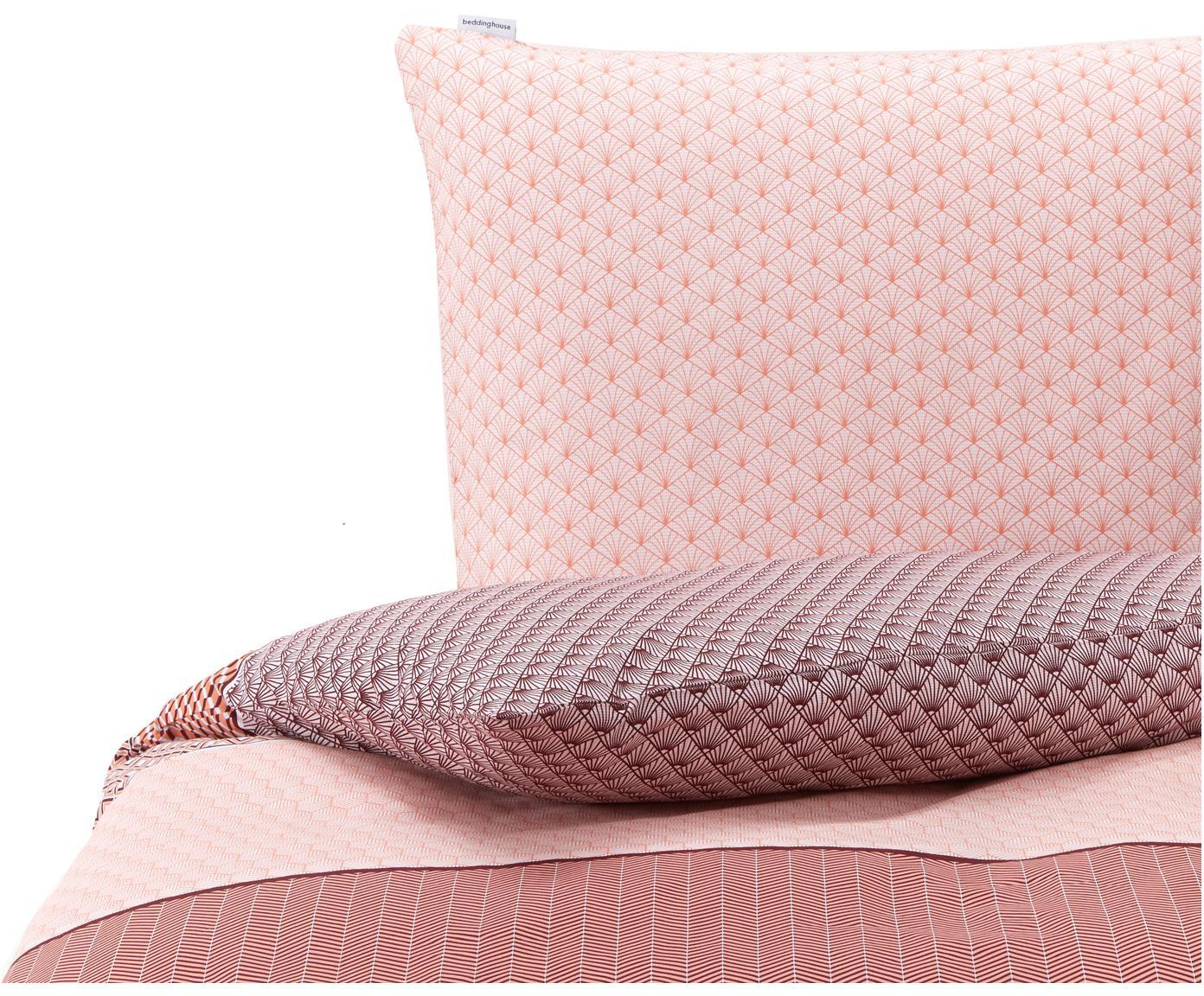 Gemusterte Baumwoll-Bettwäsche Lorenza, 100% Baumwolle  Fadendichte 144 TC, Standard Qualität  Bettwäsche aus Baumwolle fühlt sich auf der Haut angenehm weich an, nimmt Feuchtigkeit gut auf und eignet sich für Allergiker., Rosa, Lila, Koralle, 135 x 200 cm + 1 Kissen 80 x 80 cm