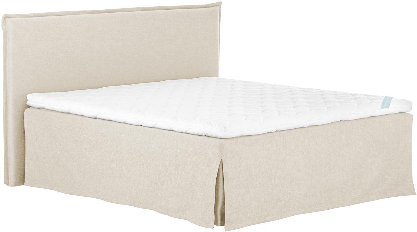Premium Boxspringbett Violet, Matratze: 7-Zonen-Taschenfederkern , Füße: Massives Buchenholz, lack, Beige, 140 x 200 cm