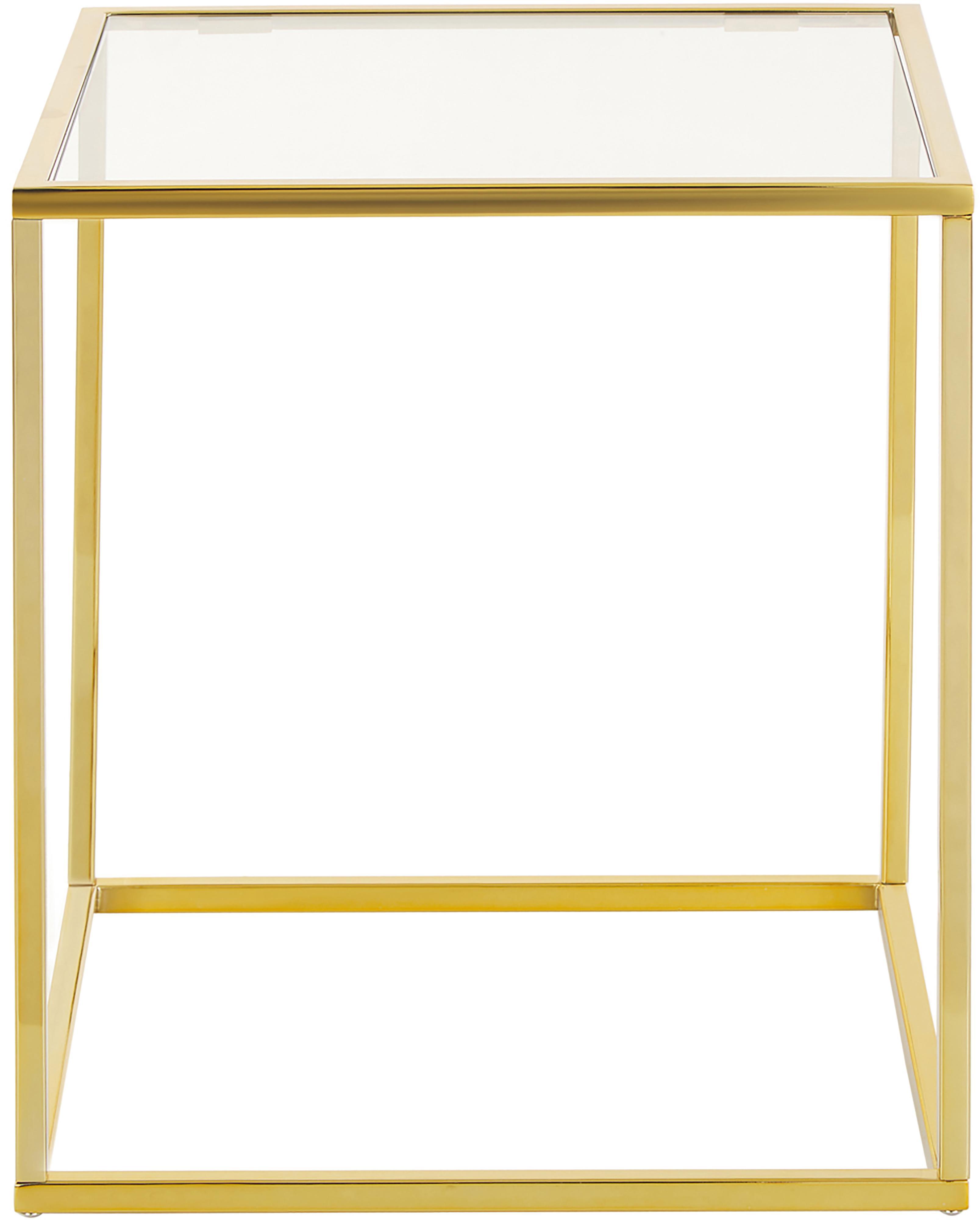 Beistelltisch Maya mit Glasplatte, Tischplatte: Sicherheitsglas, Gestell: Metall, galvanisiert, Tischplatte: Glas, transparentGestell: Goldfarben, glänzend, 45 x 50 cm