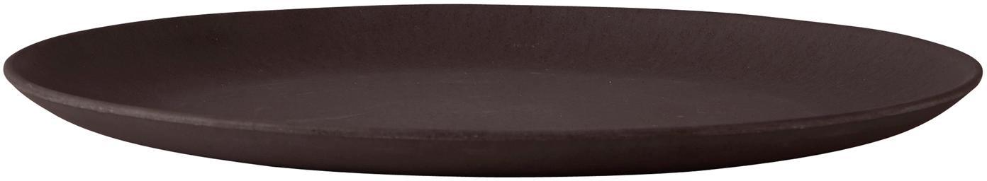 Bambusteller Bari in Schwarz, 4 Stück, Bambus, Schwarz, Ø 28 x H 2 cm