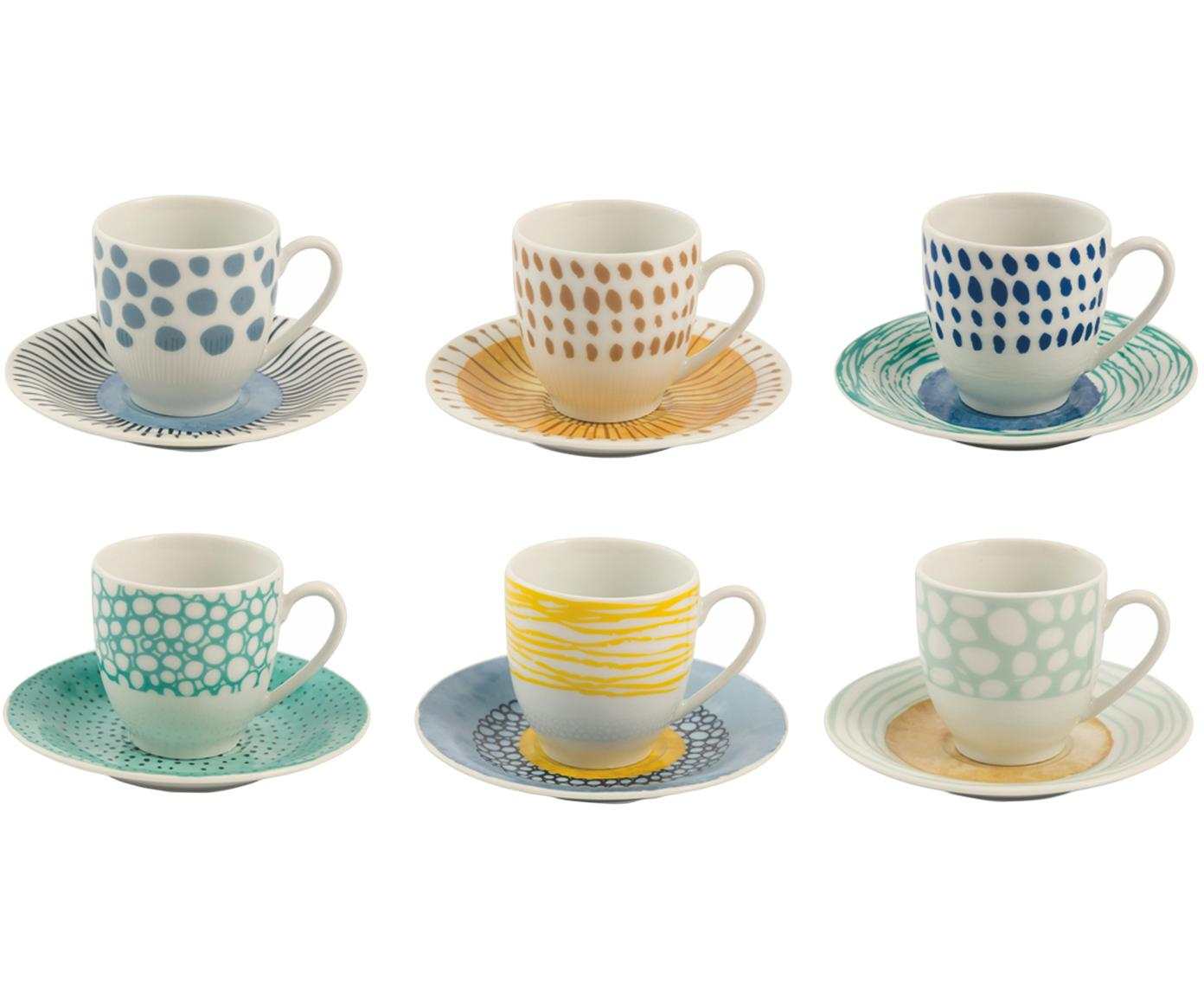 Espressotassen Marea mit bunten Designs, 12er-Set, Porzellan, Blau, Weiß, Gelb, Ø 6 x H 6 cm