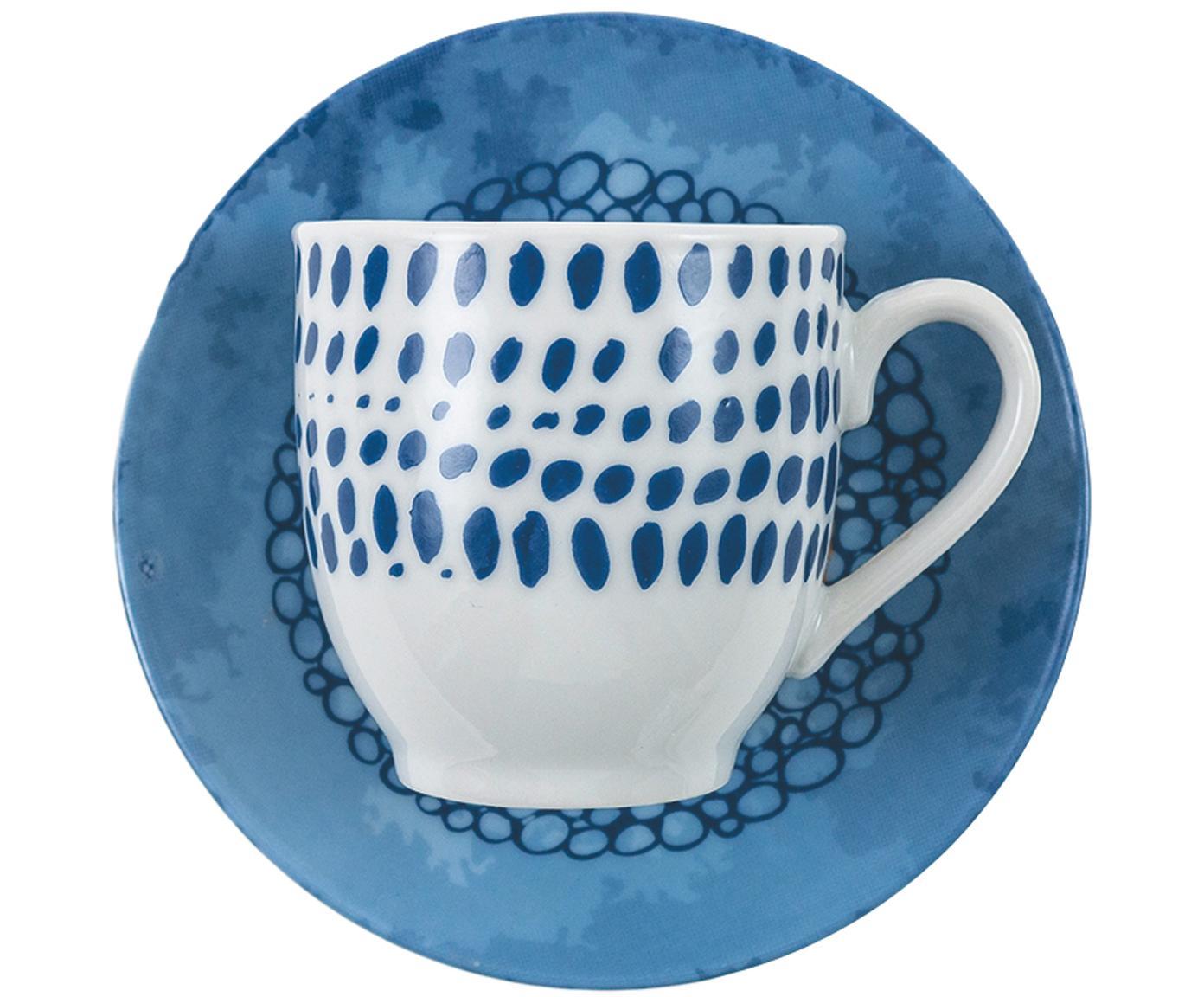Set tazze da espresso Marea 12 pz, Porcellana, Blu, bianco, giallo, Ø 6 x Alt. 6 cm