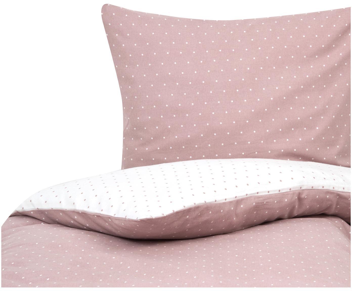 Flanell-Wendebettwäsche Betty, gepunktet, Webart: Flanell Flanell ist ein s, Altrosa, Weiß, 155 x 220 cm + 1 Kissen 80 x 80 cm