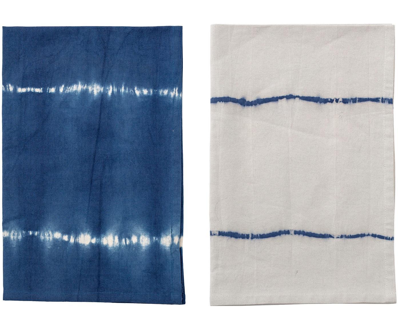 Set 2 strofinacci in look batik Alston, Cotone, Blu, Larg. 45 x Lung. 70 cm