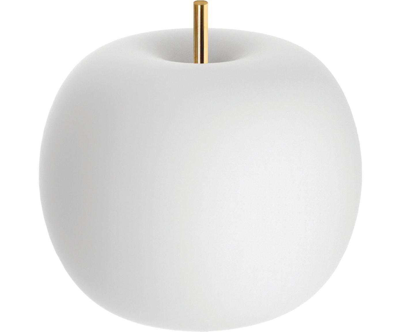 LED tafellamp Kushi, Geëtst glas, gepoedercoat messing, Wit, messingkleurig, Ø 16 x H 16 cm
