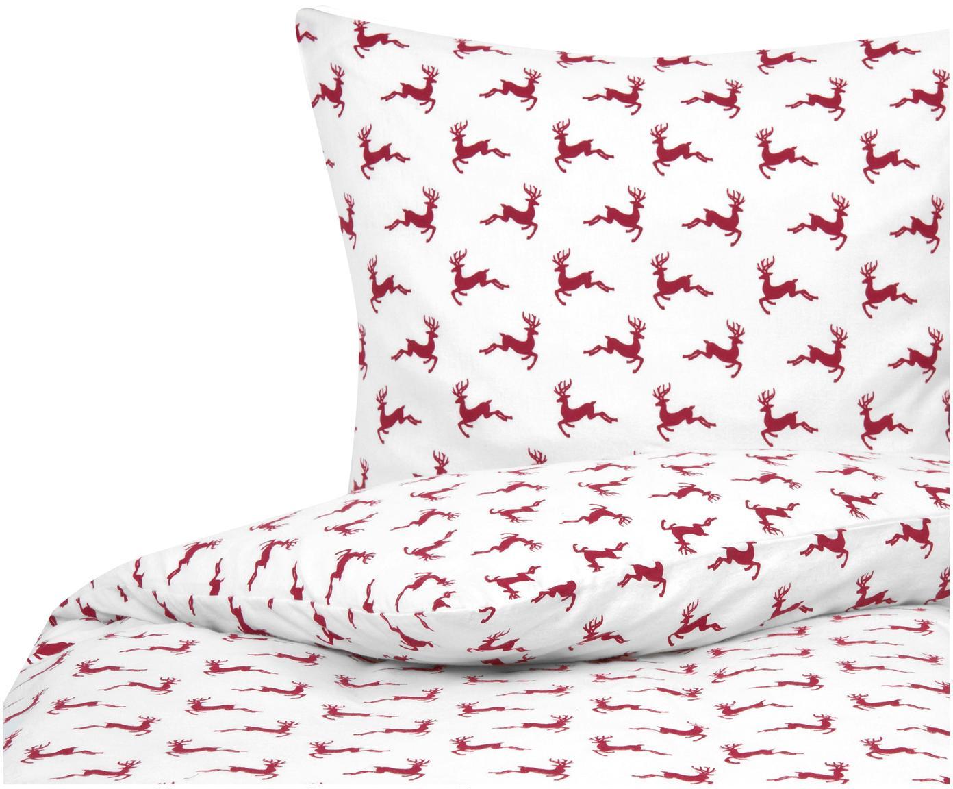 Pościel z flaneli Rudolph, 100% bawełna, flanela, Czerwony, ecru, 135 x 200 cm