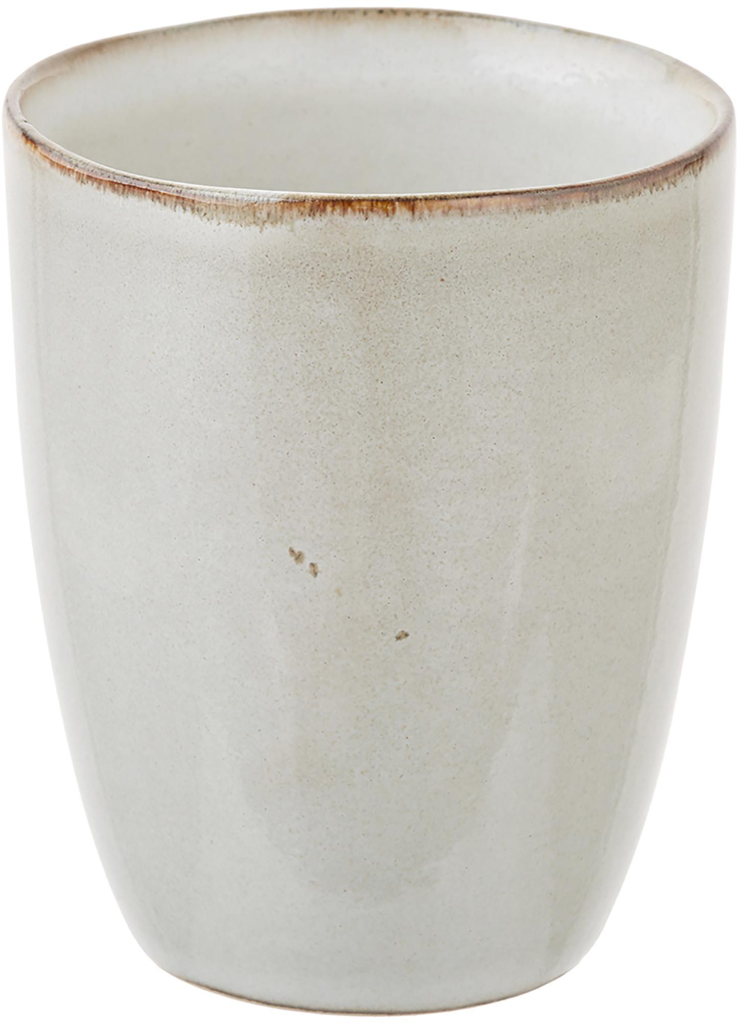 Tazza fatta a mano Thalia 2 pz, Ceramica, Crema con bordo scuro, Ø 9 x Alt. 11 cm