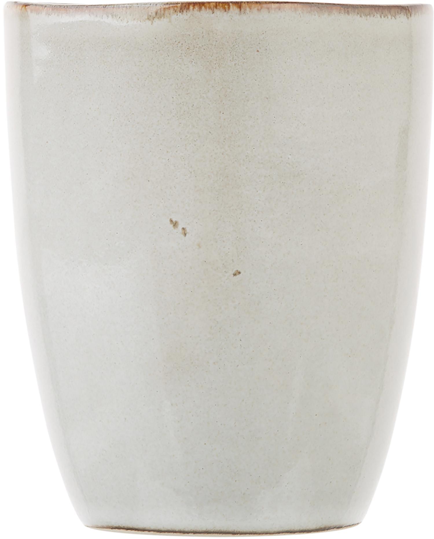 Tasses faites à la main Thalia, 2pièces, Crème avec bordure foncée