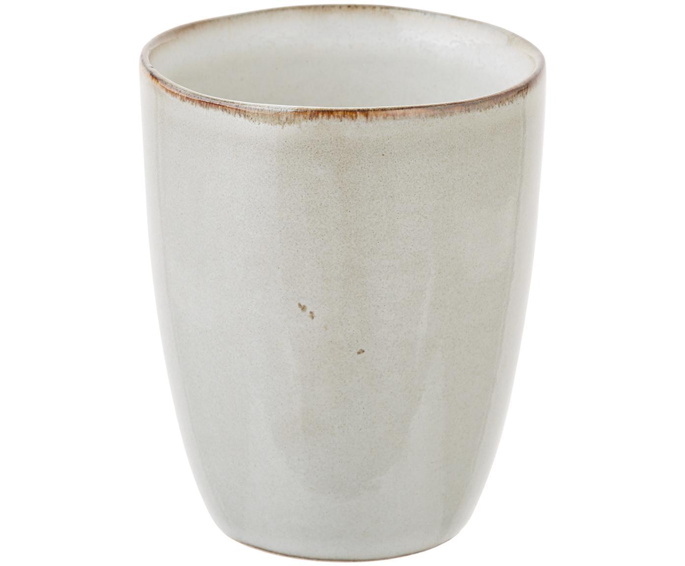 Ręcznie wykonany kubek Thalia, 2 szt., Ceramika, Kremowy z ciemną krawędzią, Ø 9 x W 11 cm