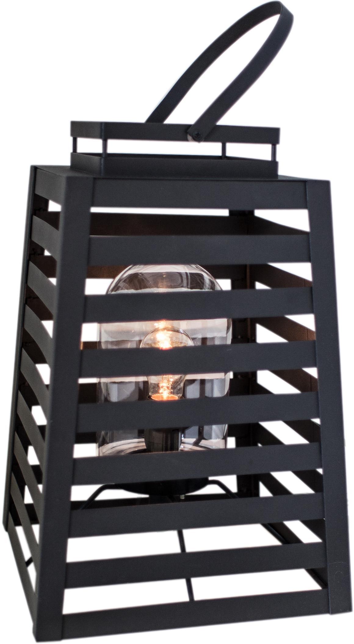 Outdoor vloerlamp Yankton in lantaarnvorm, Lamp: gepoedercoat metaal, Diffuser: glas, Zwart, 30 x 60 cm