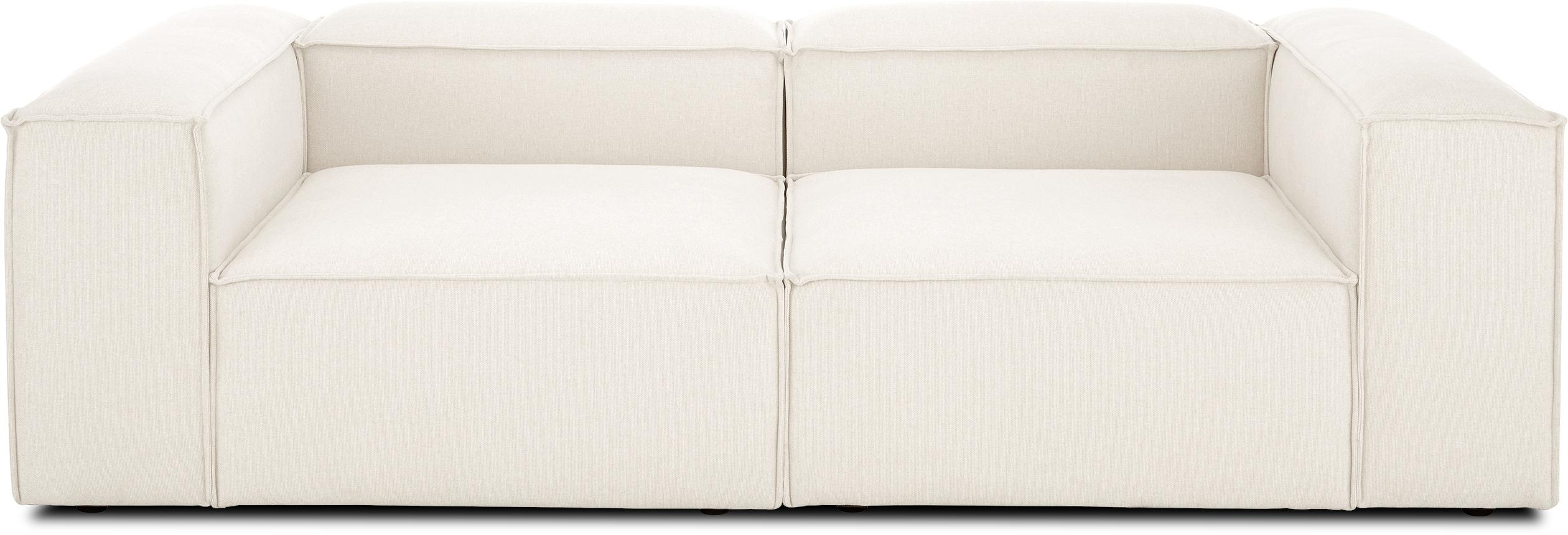 Modulares Sofa Lennon (3-Sitzer), Bezug: Polyester Der hochwertige, Gestell: Massives Kiefernholz, Spe, Füße: Kunststoff, Webstoff Beige, B 238 x T 119 cm