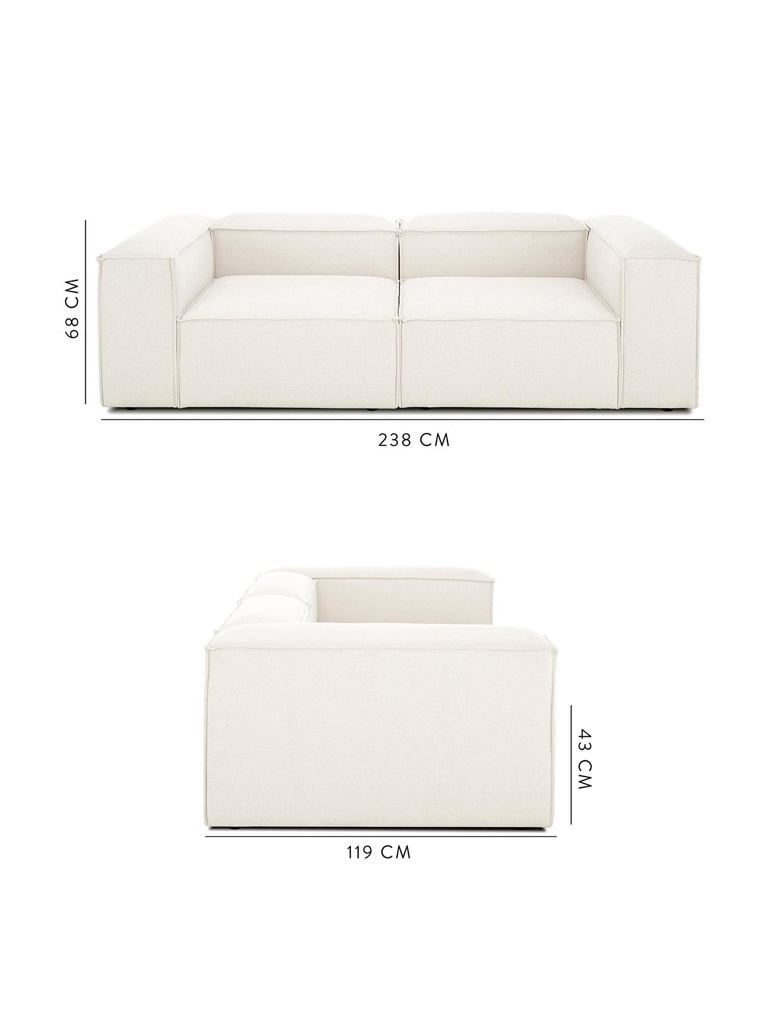 Modulaire bank Lennon (3-zits), Bekleding: polyester, Frame: massief grenenhout, multi, Poten: kunststof, Beige, B 242 x D 121 cm