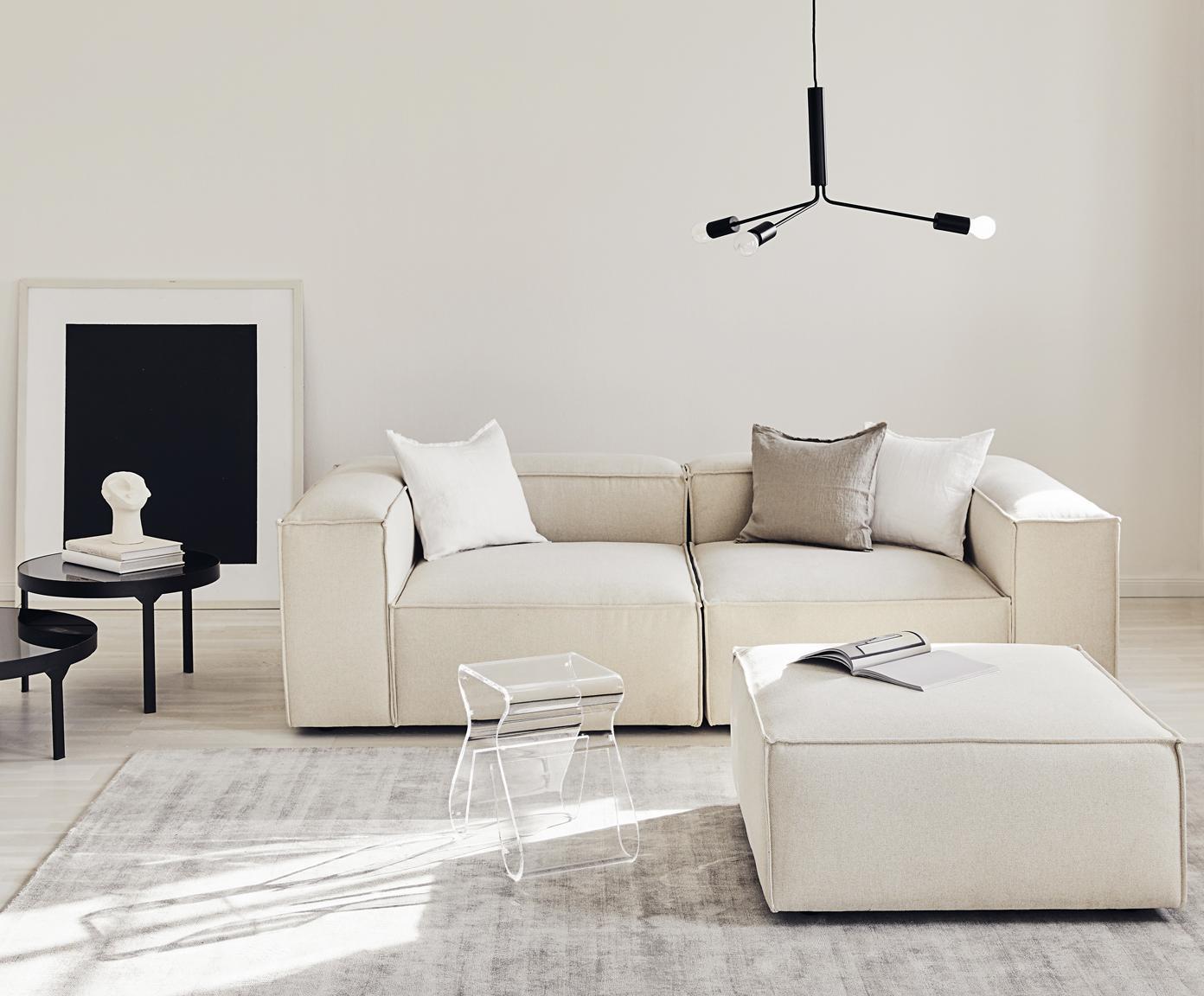 Sofa modułowa Lennon (3-osobowa), Tapicerka: poliester 35 000 cykli w , Stelaż: lite drewno sosnowe, skle, Nogi: tworzywo sztuczne, Tkanina beżowy, S 238 x G 119 cm