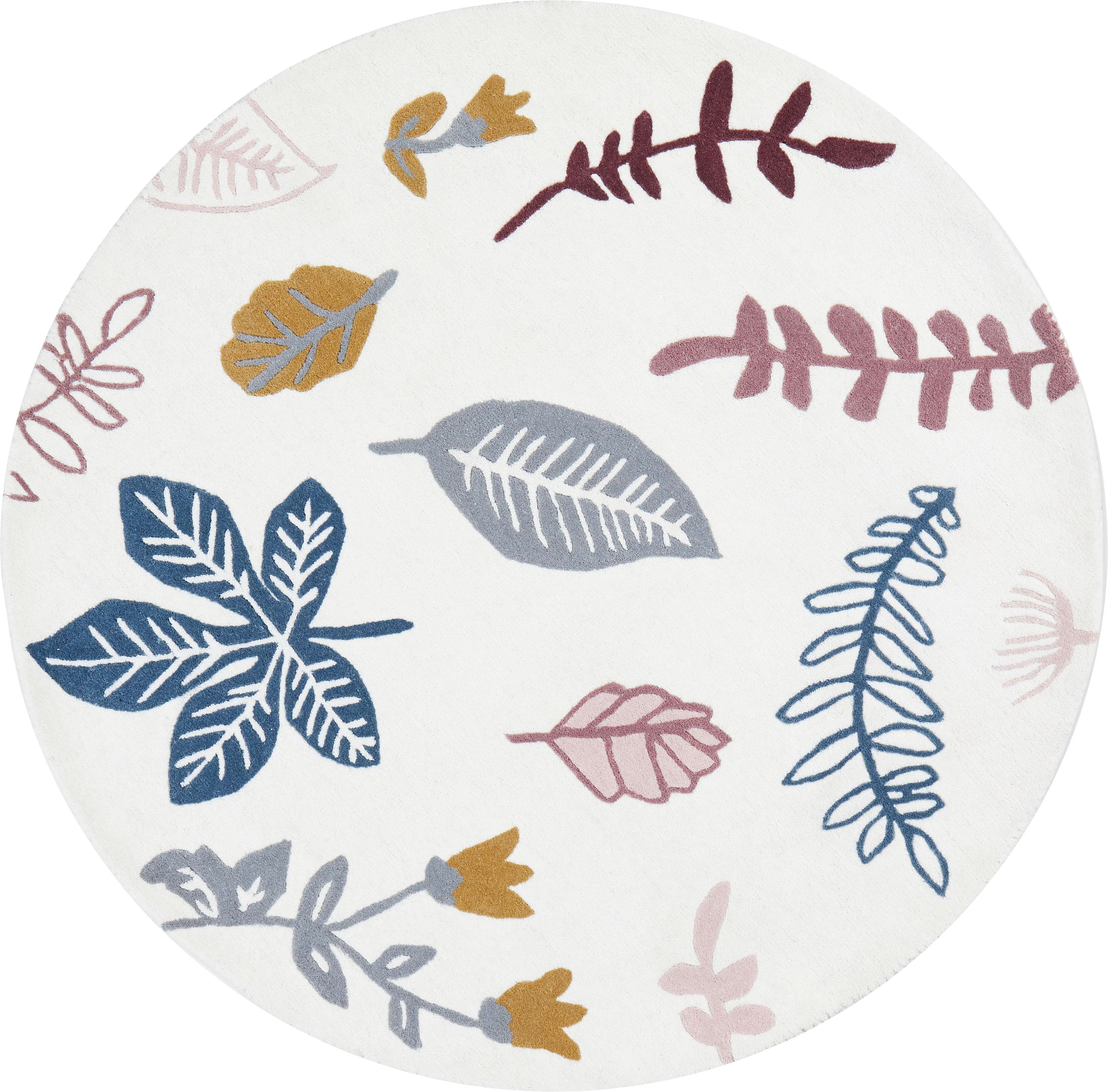 Wollen vloerkleed Pressed Leaves, Wol, Crèmekleurig, roze, blauw, grijs, geel, Ø 110 cm
