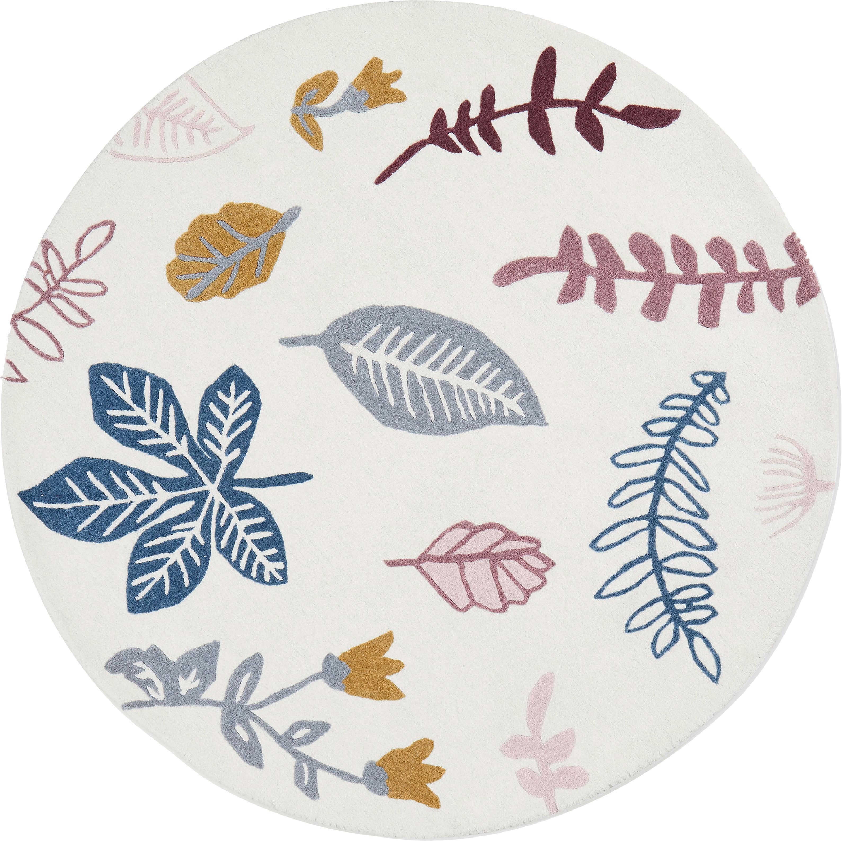 Alfombra de lana Pressed Leaves, Lana, Crema, rosa, azul, gris, amarillo, Ø 110 cm