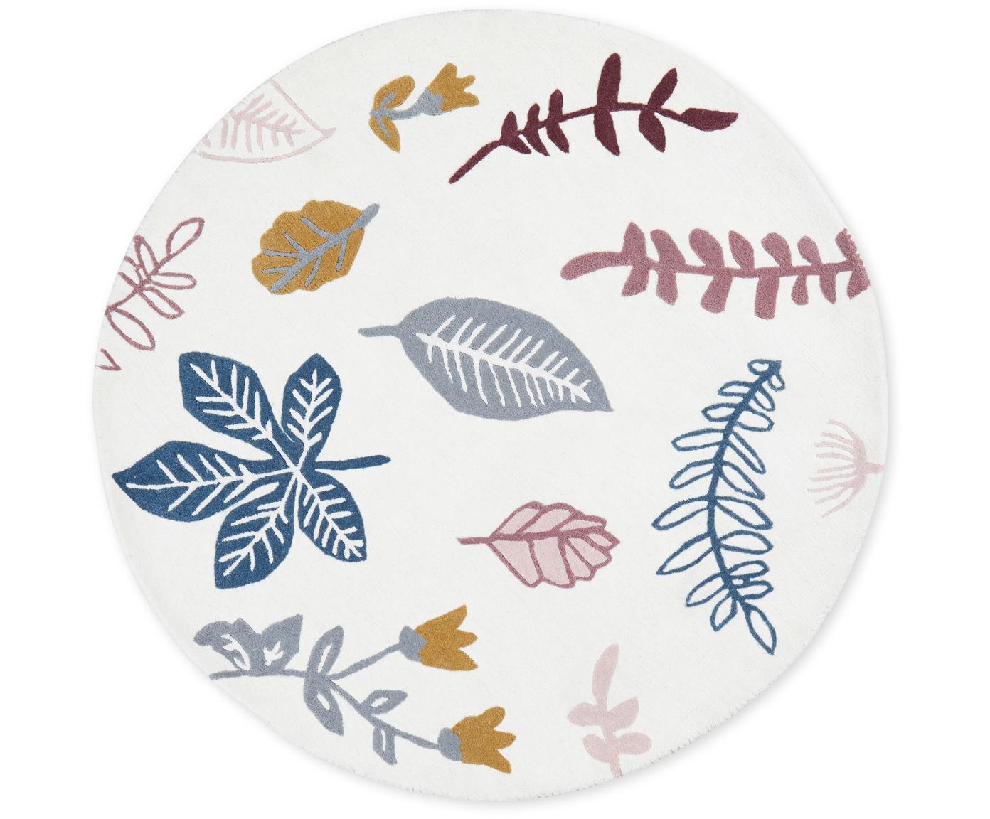 Wollteppich Pressed Leaves, Wolle, Creme, Rosa, Blau, Grau, Gelb, Ø 110 cm